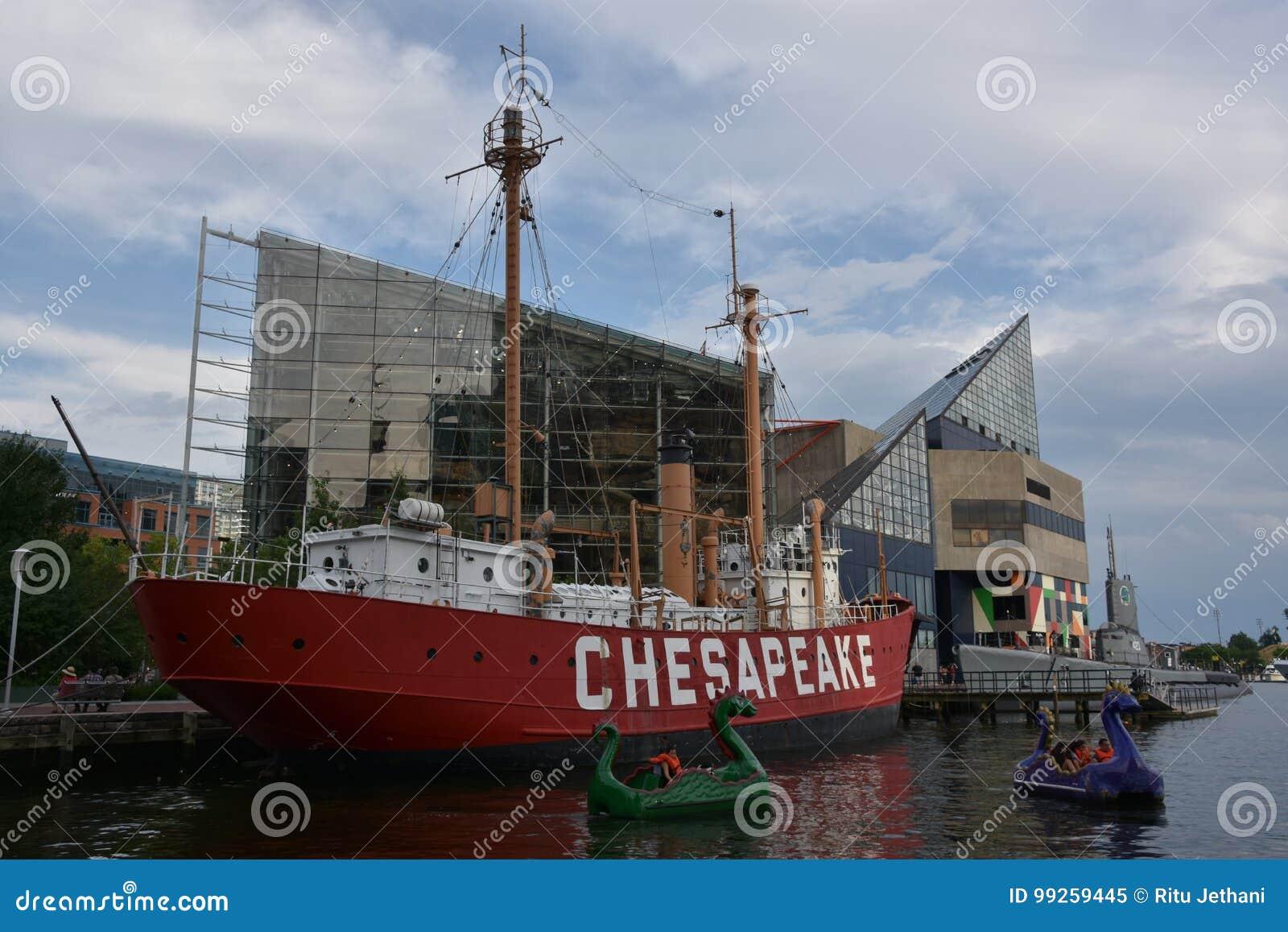Het lichtschipchesapeake lv-116 van Verenigde Staten in Baltimore, Maryland