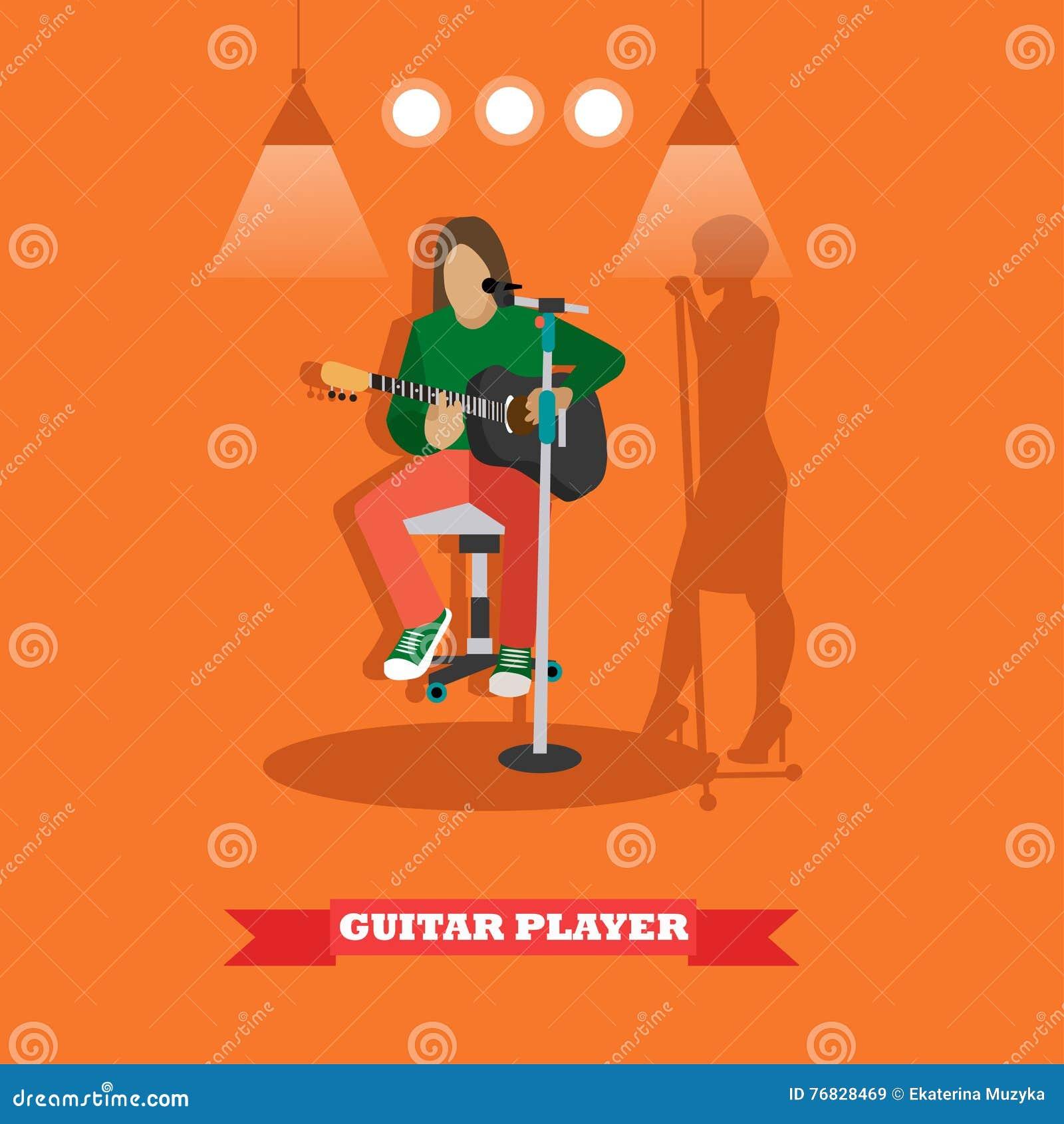 Het liedgitarist van het land het spelen gitaar Het conceptenbanner van de muziekpopgroep Vectorillustratie in vlak stijlontwerp