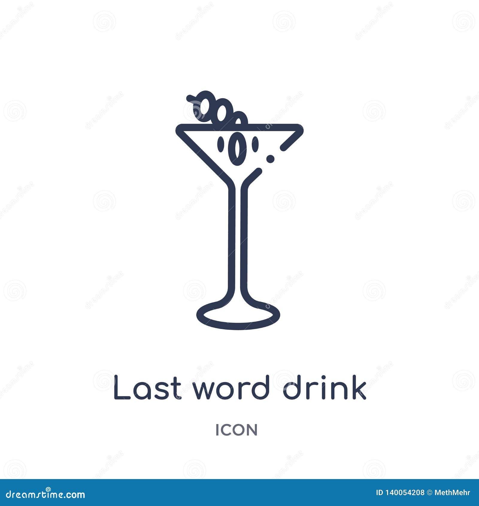 Het lineaire laatste pictogram van de woorddrank van de inzameling van het Drankenoverzicht Dunne de drankvector van het lijn laa