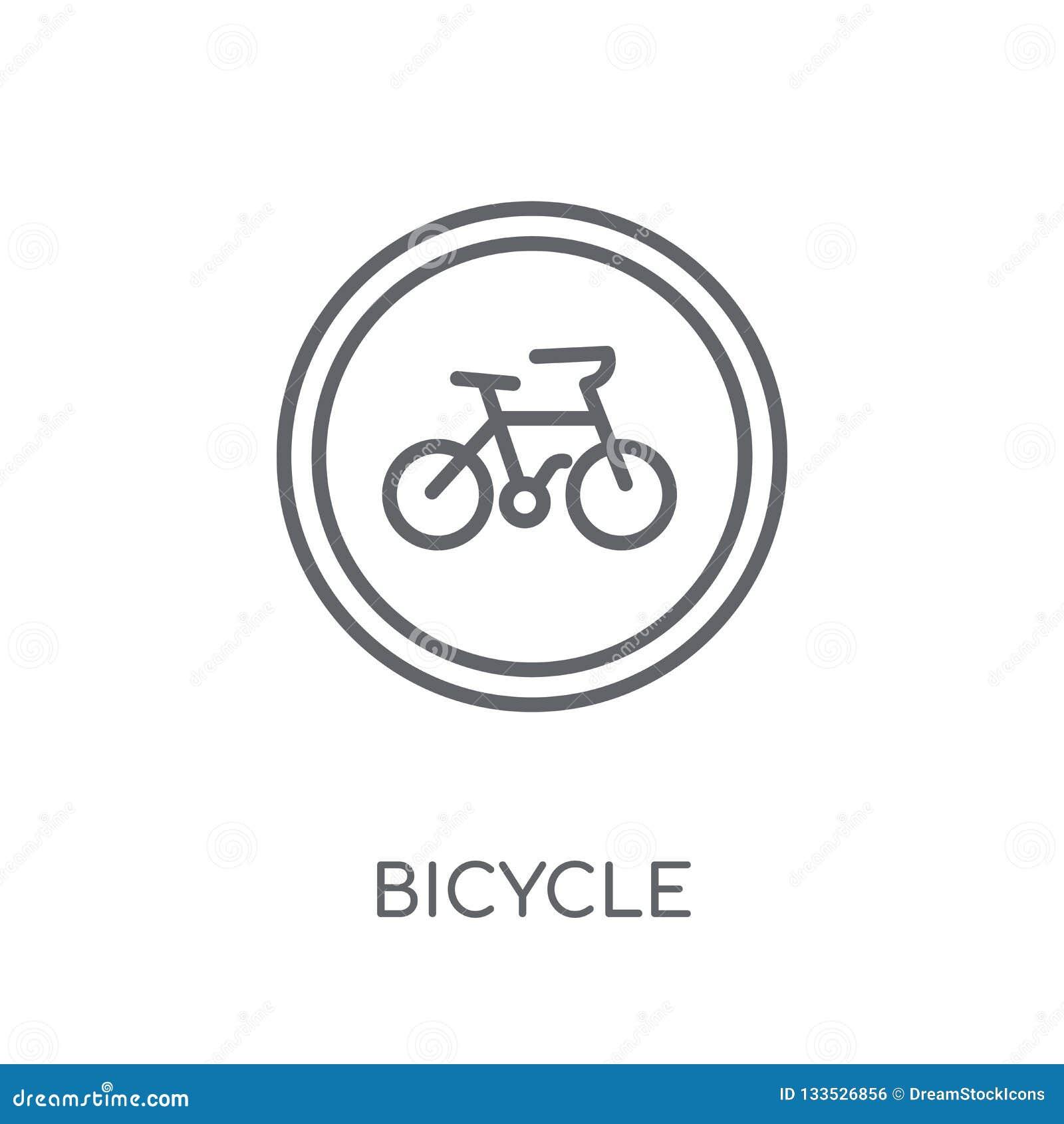 Het lineaire pictogram van het fietsteken Moderne conce van het het tekenembleem van de overzichtsfiets
