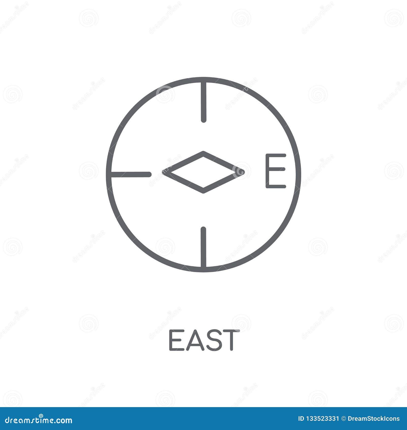 Het lineaire pictogram van het oosten Modern het embleemconcept van het overzichtsoosten op witte rug