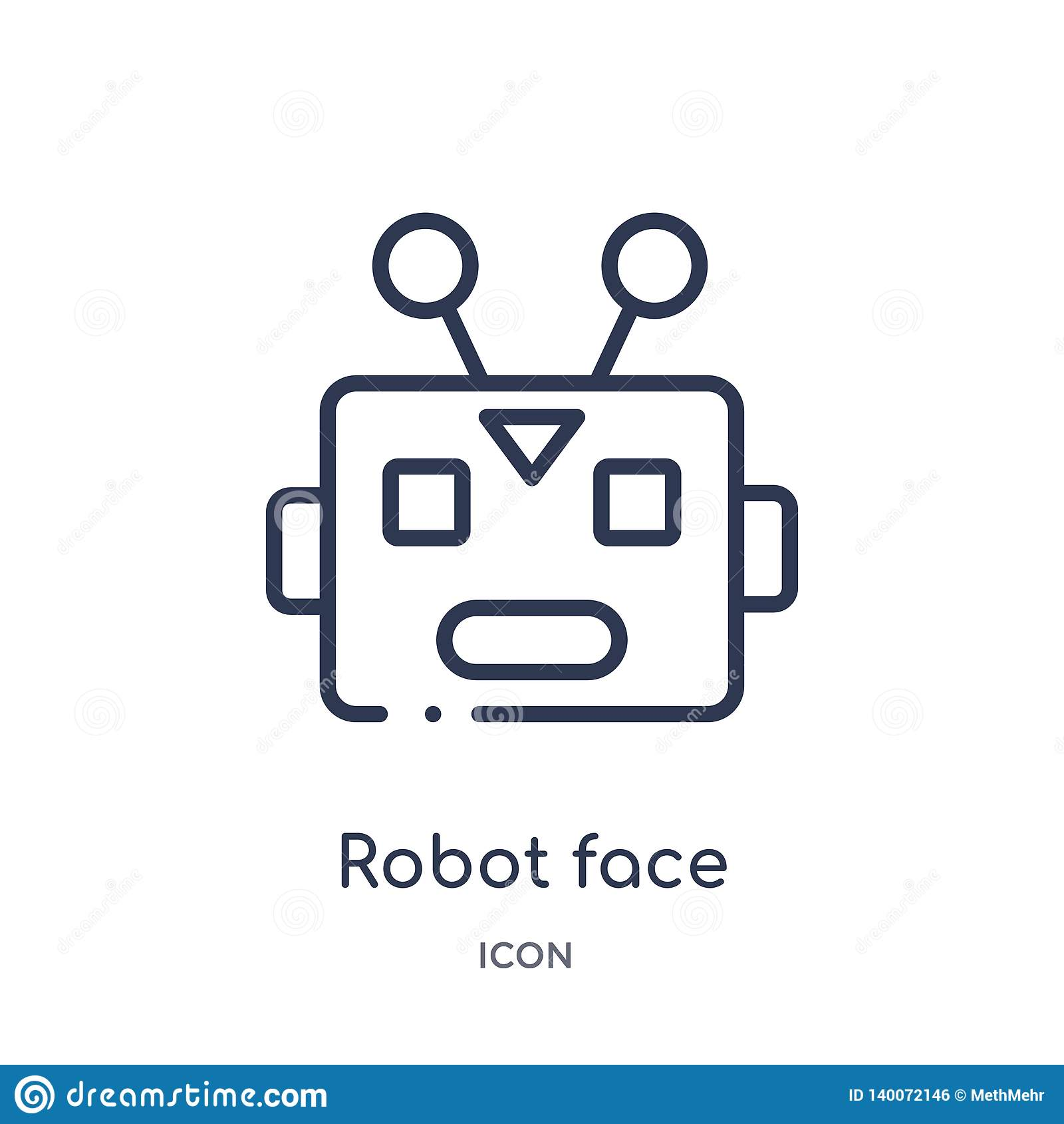 Het lineaire pictogram van het robotgezicht van de inzameling van het Elektronikaoverzicht Dun die het gezichtspictogram van de l