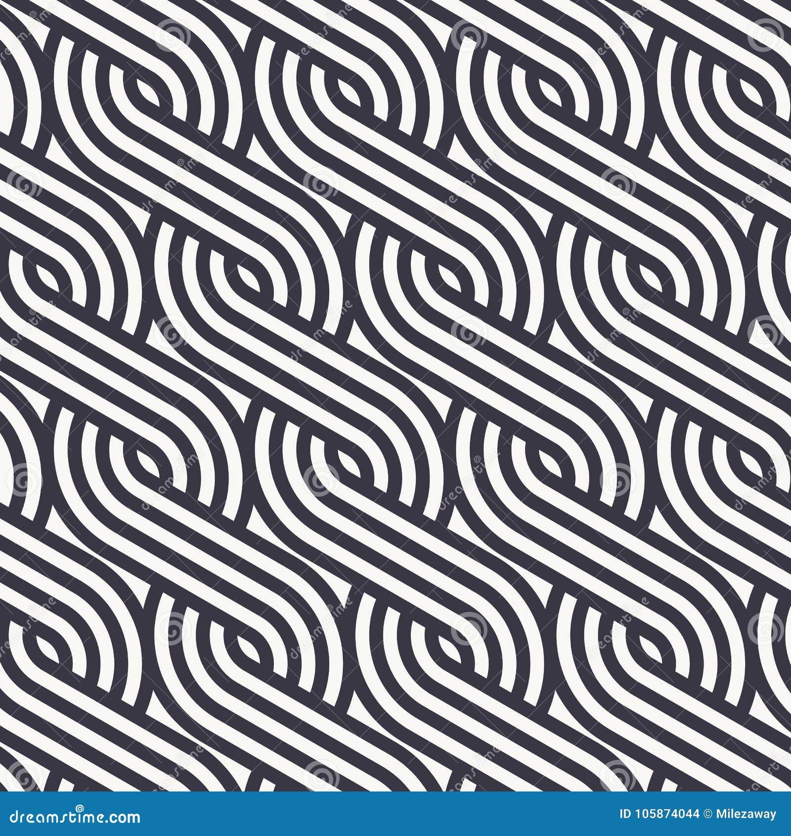Het lineaire vectorpatroon die de stijlenpatroon herhalen van vlechtenlijnen maakte van een kwart lineair van cirkel