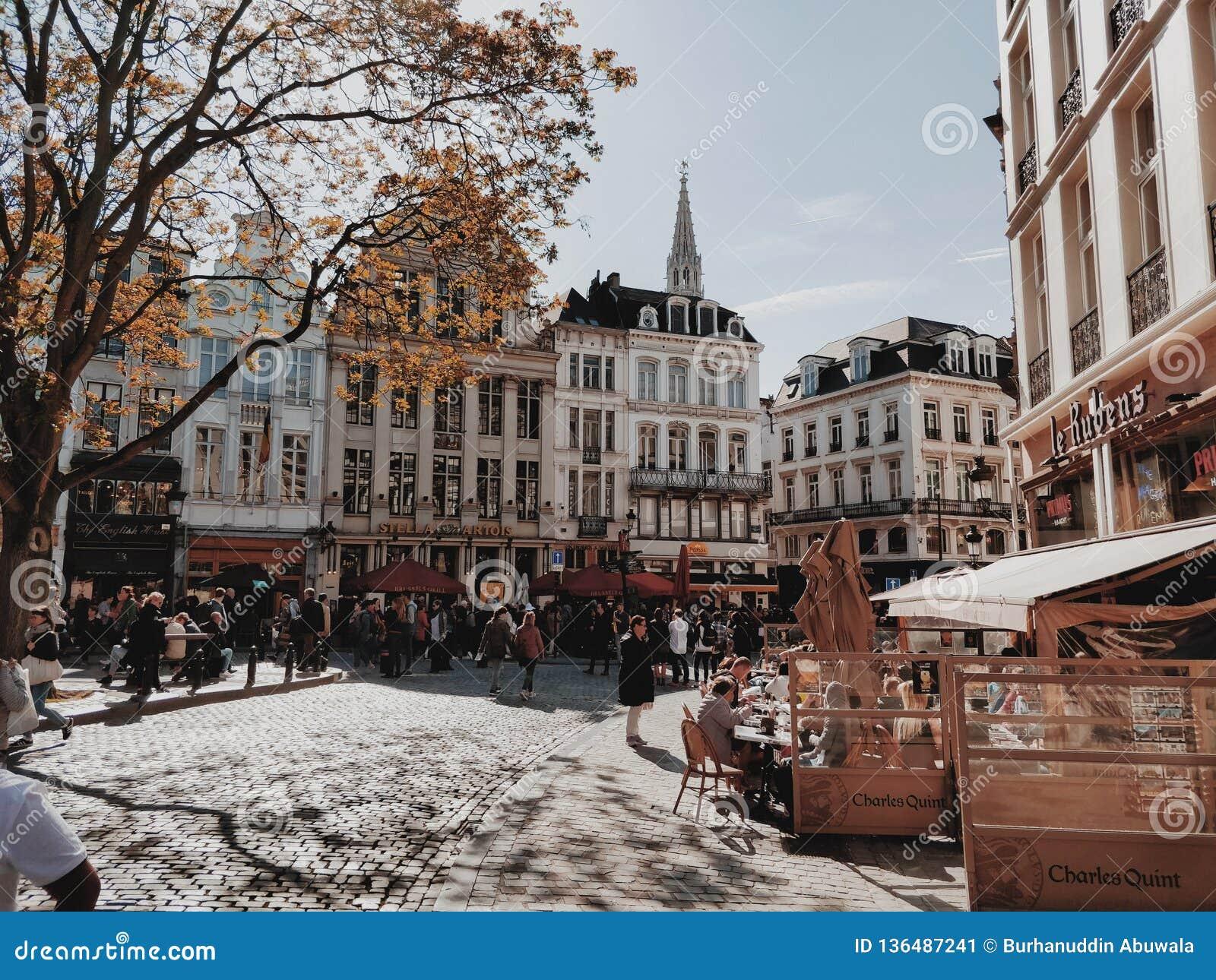 Het lopen door de mooie straten in Brussel