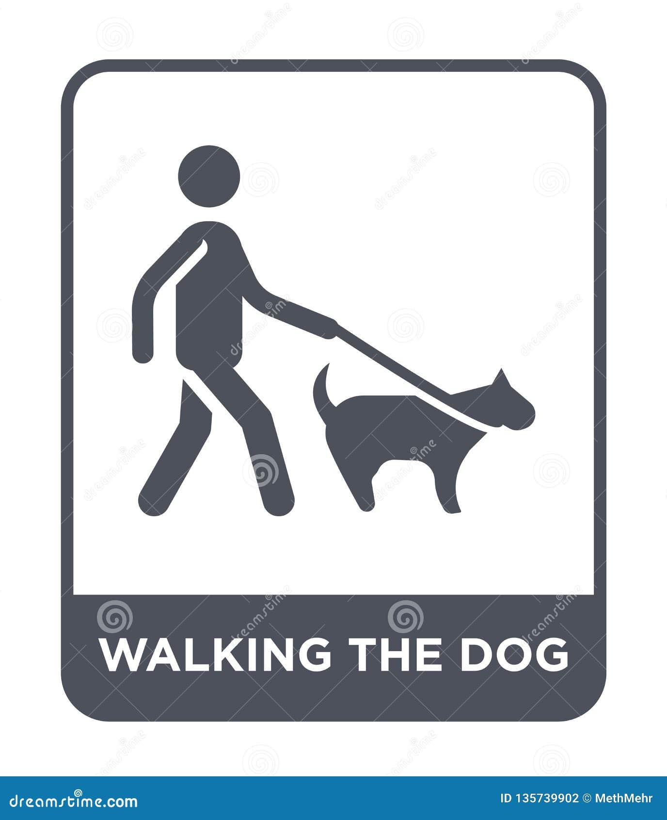 Het lopen van het hondpictogram in in ontwerpstijl lopend het hondpictogram op witte achtergrond wordt geïsoleerd die lopend het