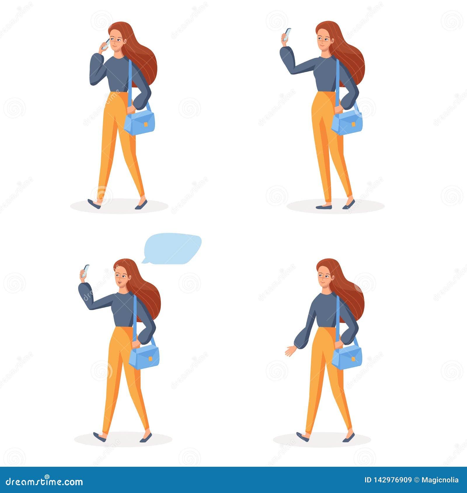 Het lopende Meisje die mobiele telefoon in verschillend met behulp van stelt Sociale communicatie conceptenreeks Het glimlachen d