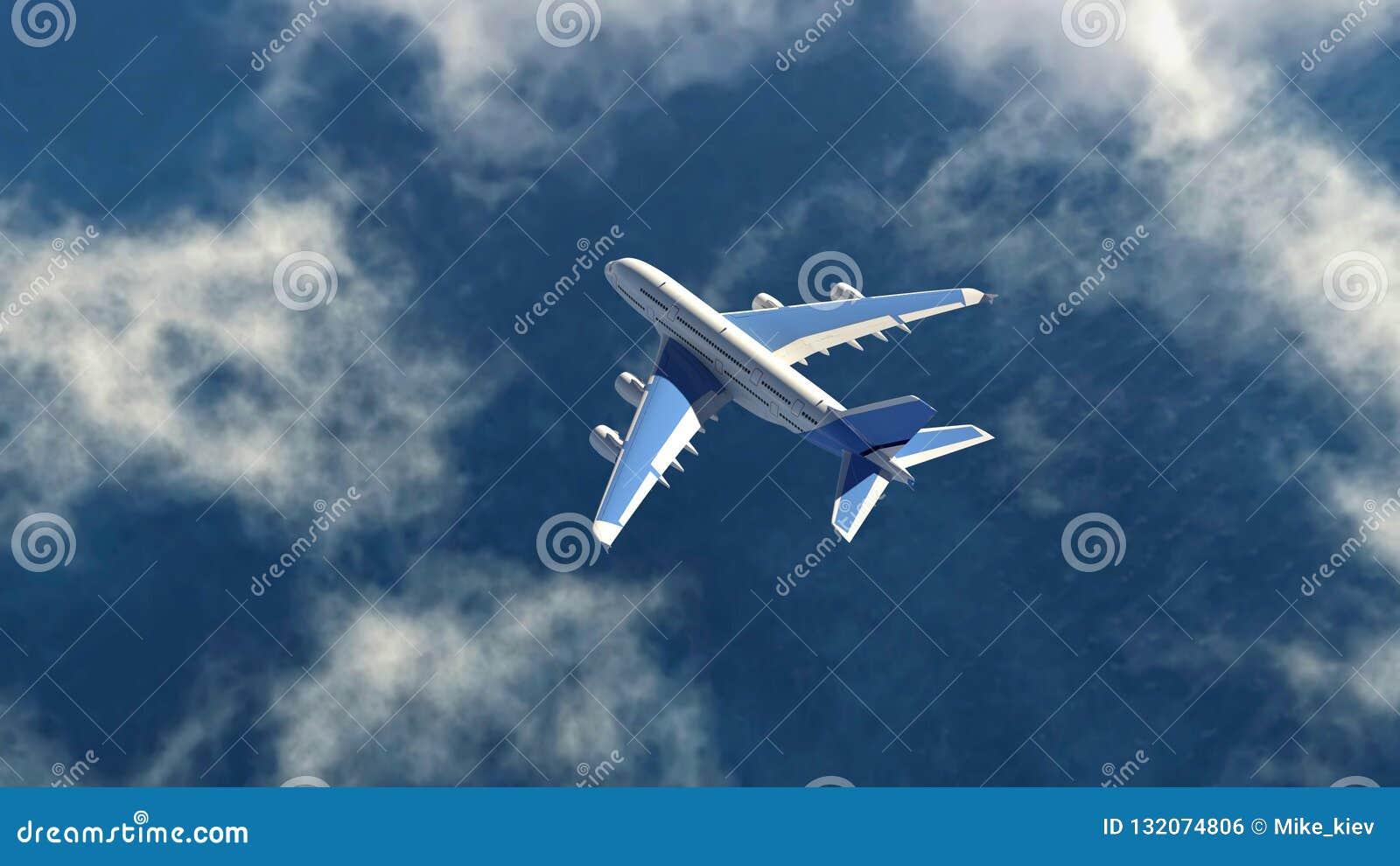 Het luchtvliegtuig vliegt in een hemel