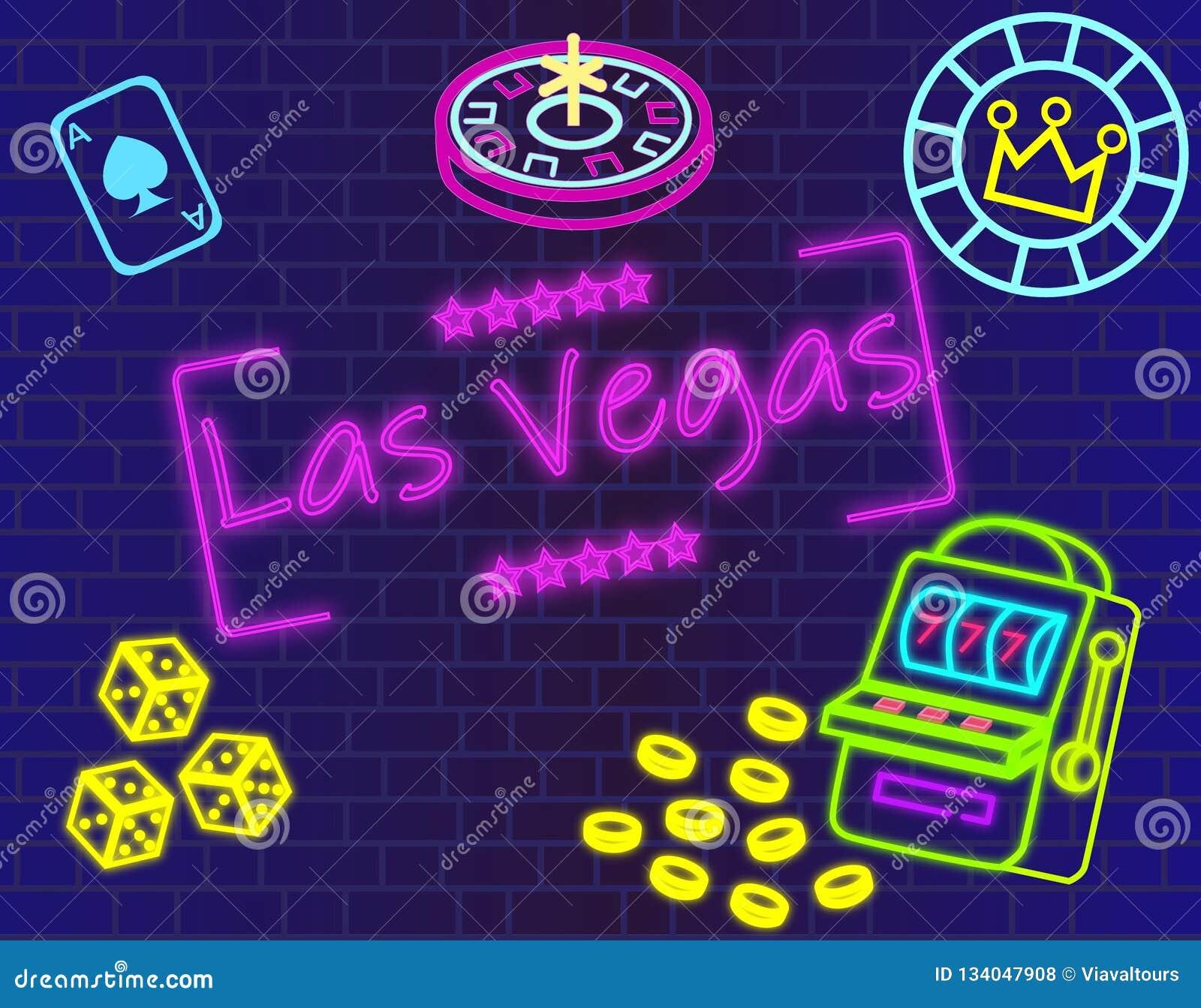 Het magenta van letters voorzien van Las Vegas Vector met casinopictogrammen op blauwe muurachtergrond