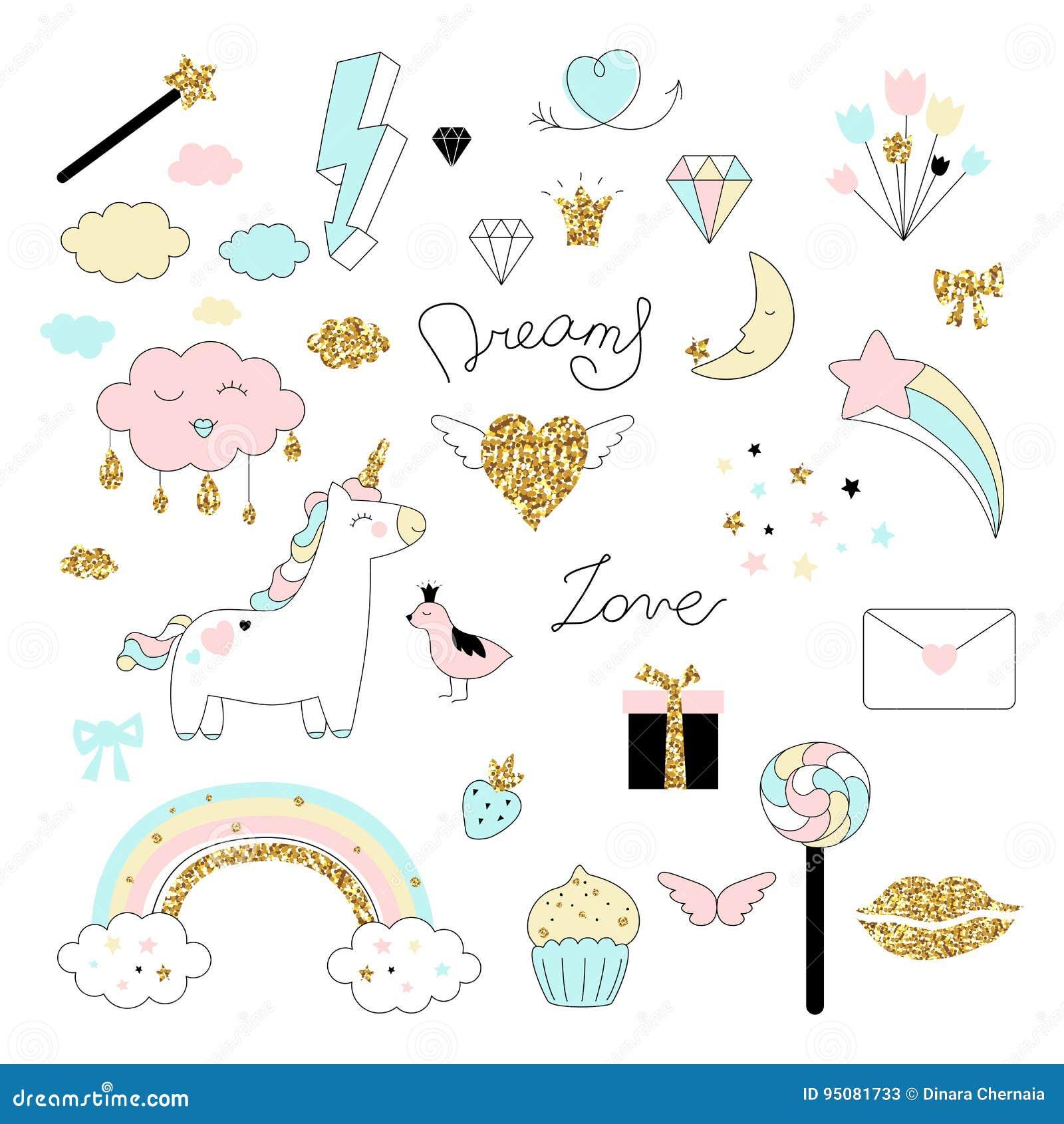 Het magische ontwerp plaatste met eenhoorn, regenboog, harten, wolken en anderen elementen