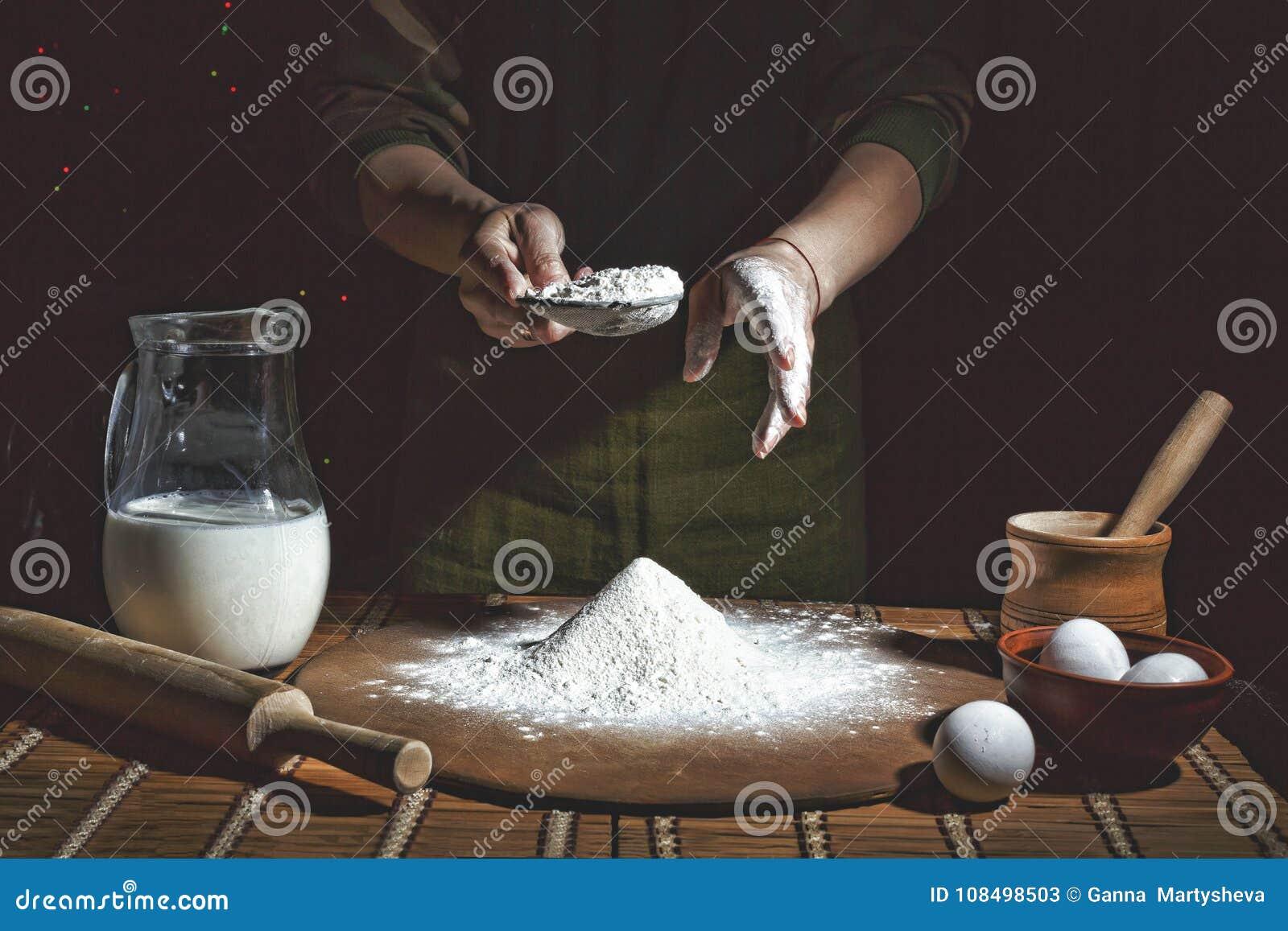 Het maken van brood, retro gestileerde beeldspraak Toegevoegde korrel bakkerij Voorbereiding van brooddeeg
