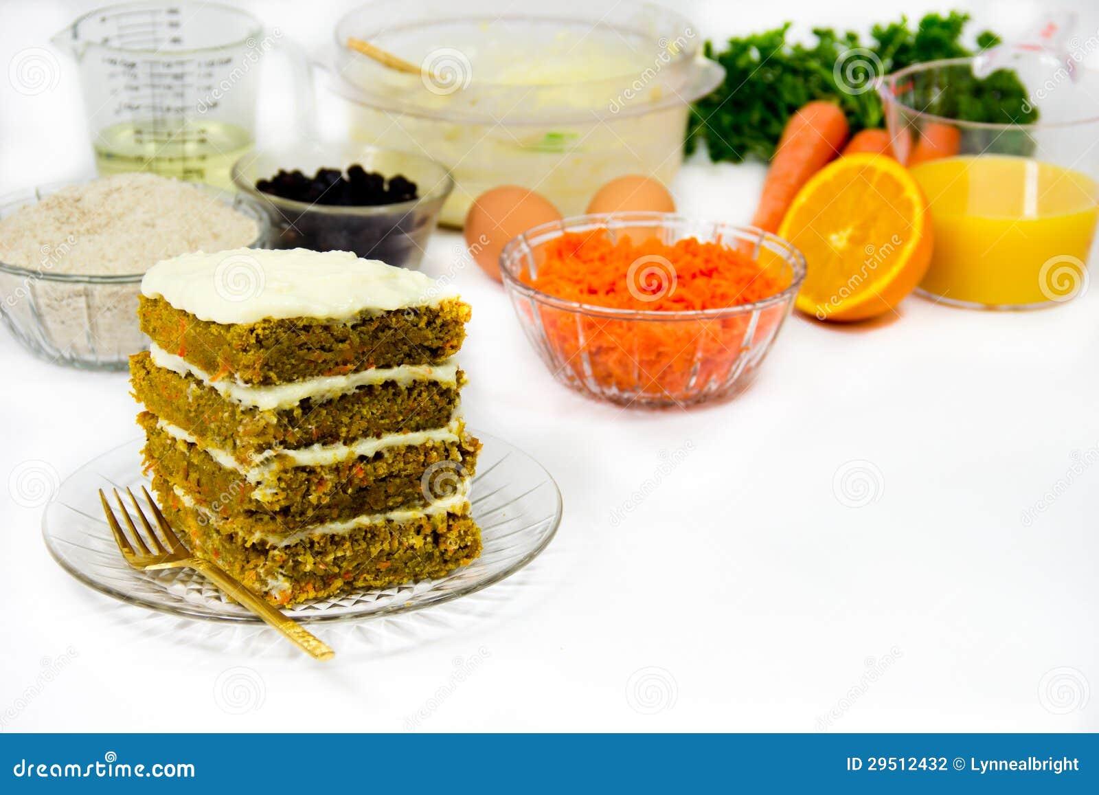 Het Maken van de Cake en van het Recept van de wortel