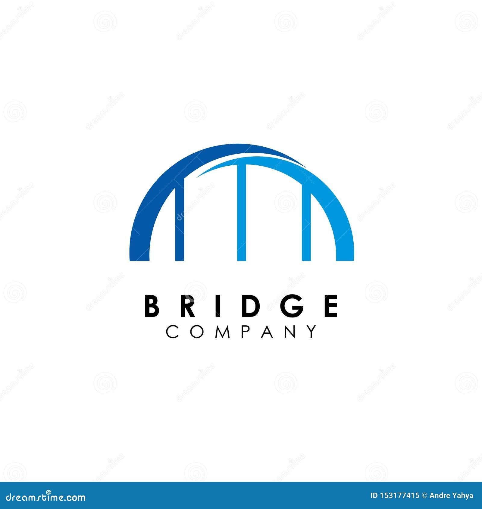 Het malplaatje van het brugembleem, de vector van het de bouwontwerp, pictogram