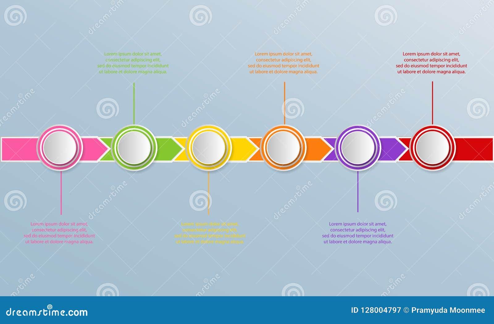 Het malplaatje van chronologieinfographics met pijlen, stroomschema, werkschema