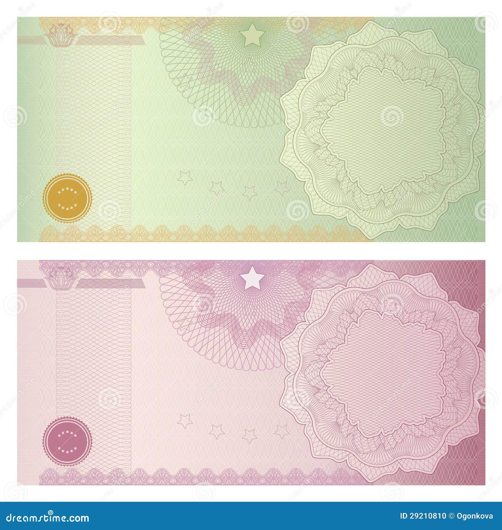 Het malplaatje van de bon/van de coupon met guilloche patroon