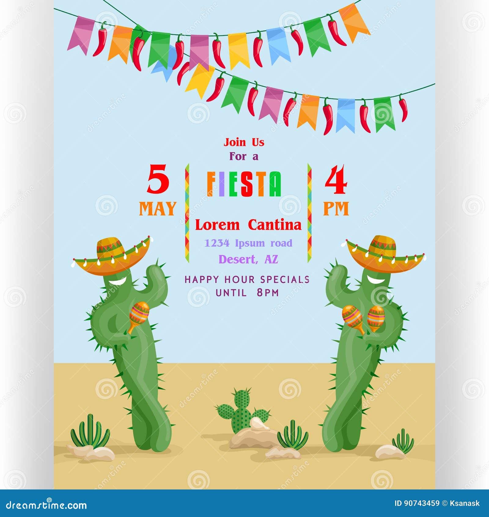 Het malplaatje van de fiestaaffiche met het glimlachen van cactussen in sombrero s