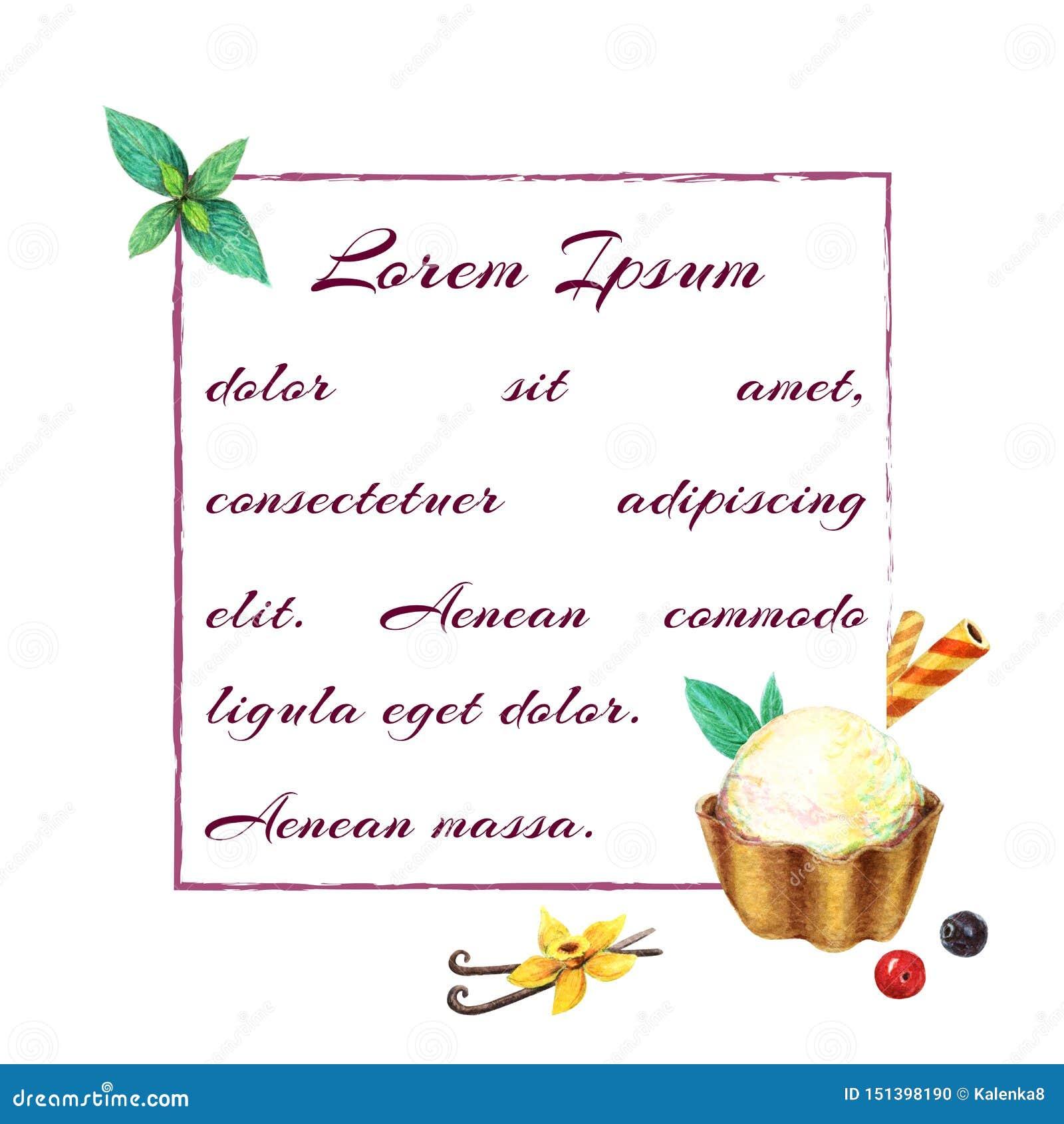 Het malplaatje van de het roomijskaart van de waterverfvanille Het kader van het kaartmalplaatje met ijs op lepelkom met muntblad