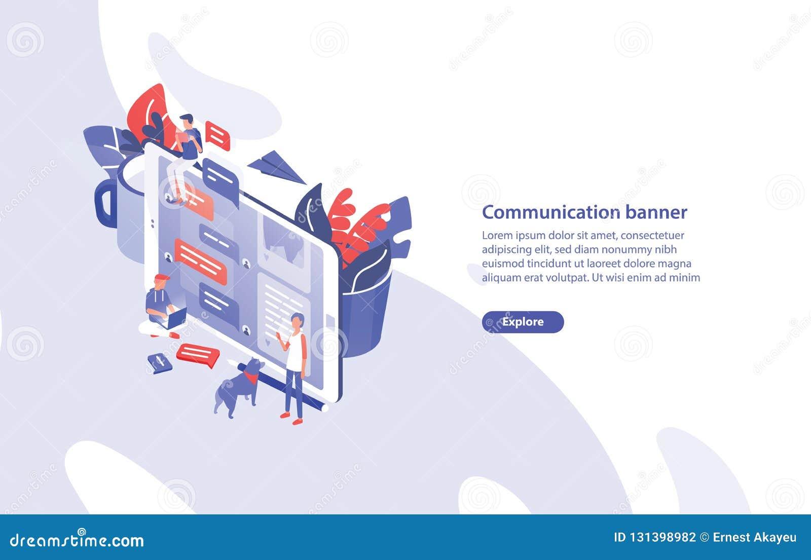 Het malplaatje van de Webbanner met reuzesmartphone, uiterst kleine mensen rond het en plaats voor tekst Mededeling, chatberichte