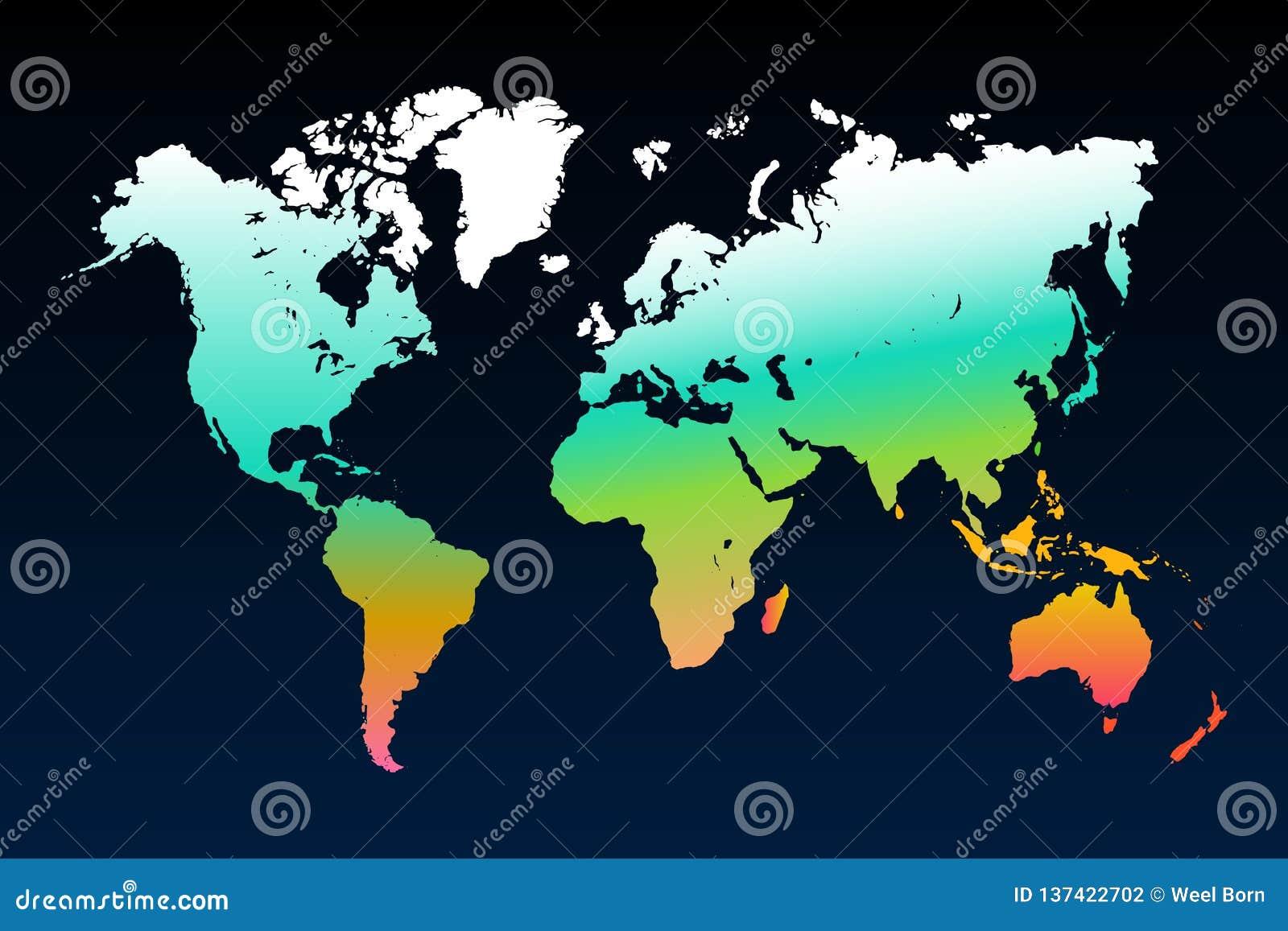 Het malplaatje van de wereldkaart