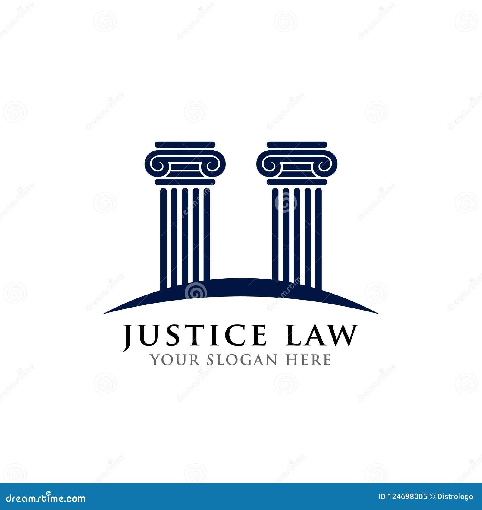 Het malplaatje van het het embleemontwerp van de rechtvaardigheidswet het ontwerp van het pijlersembleem in donkerblauwe kleur