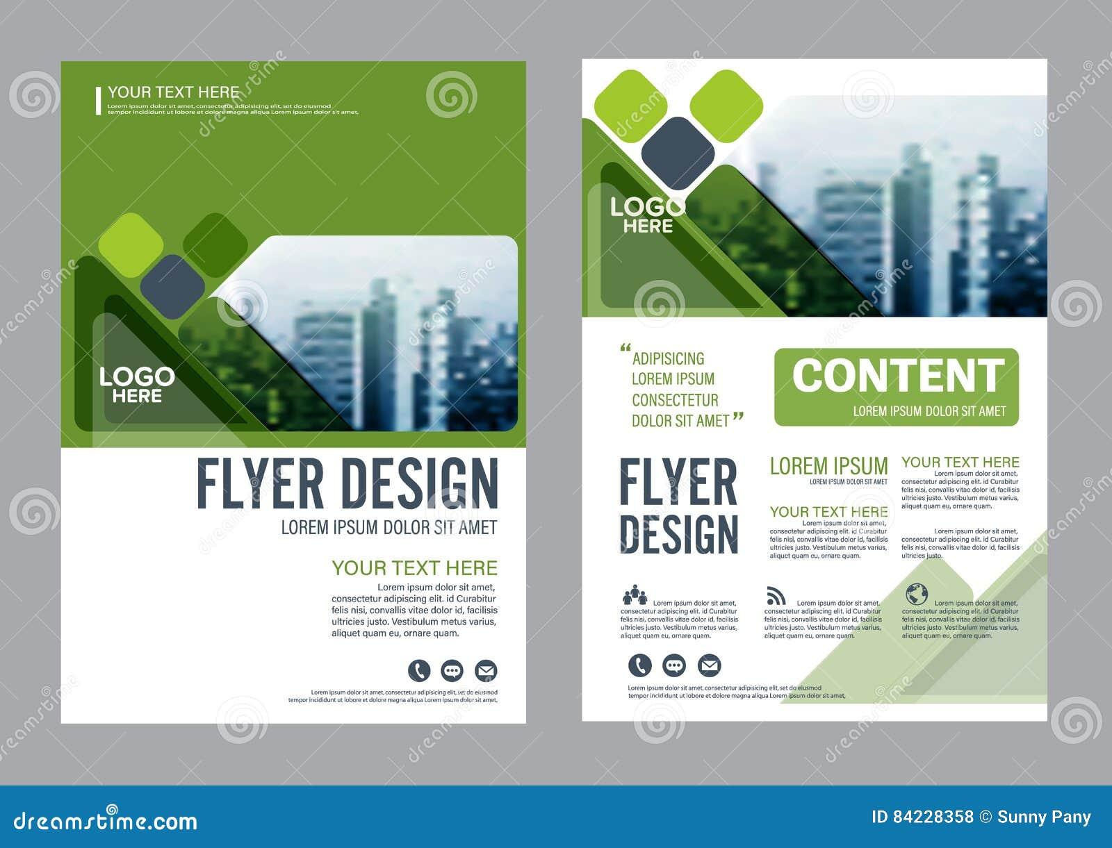 Het malplaatje van het de Lay-outontwerp van de groenbrochure De Presentatie van de het Pamfletdekking van de Jaarverslagvlieger