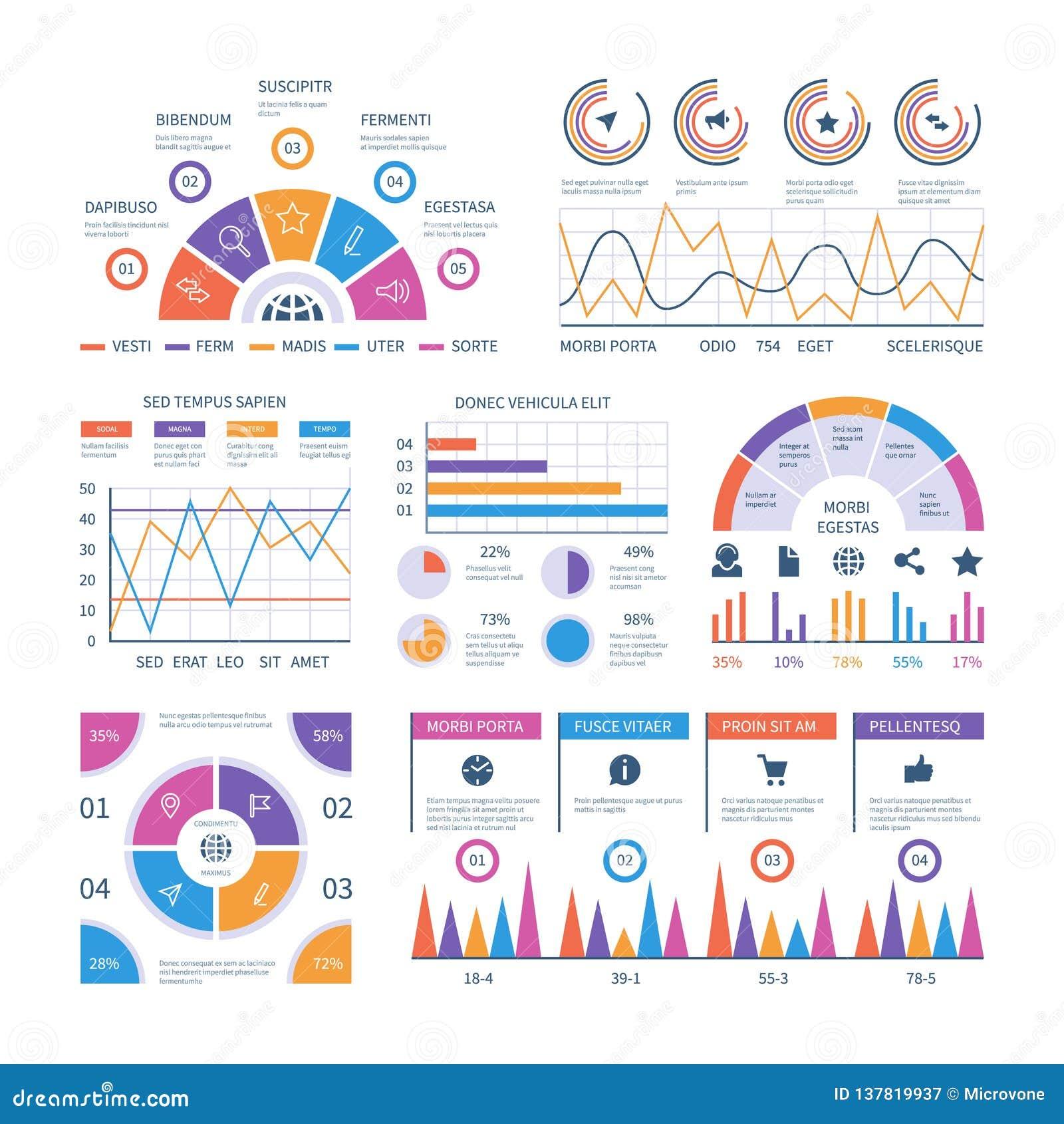 Het Malplaatje van Infographic Dashboard, de grafieken van barfinanciën, cirkeldiagram en lijndiagrammen Analytische vectorinfogr