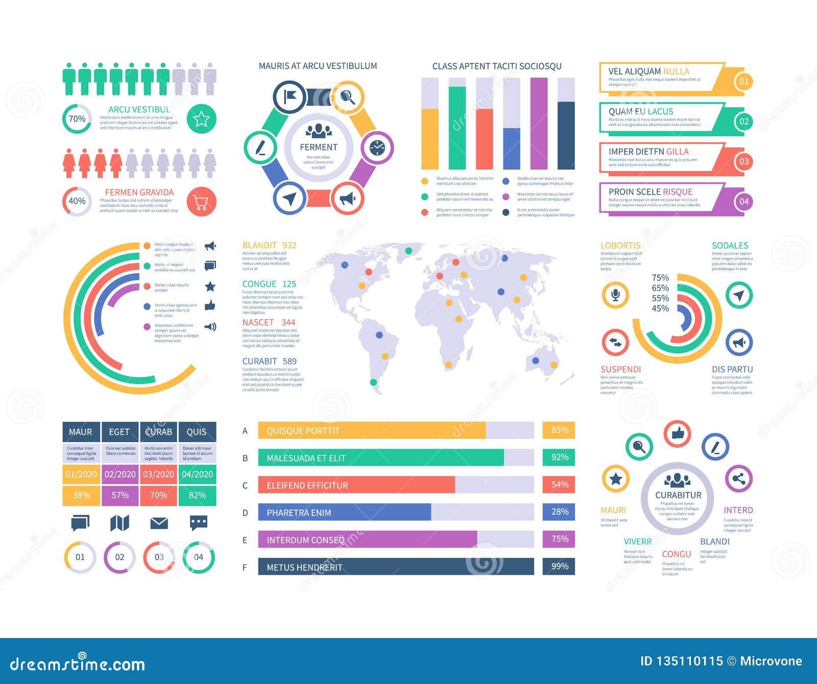 Het Malplaatje van Infographic Financiële investeringsgrafieken, het stroomschema van de kolomdiagramorganisatie De vector van pr
