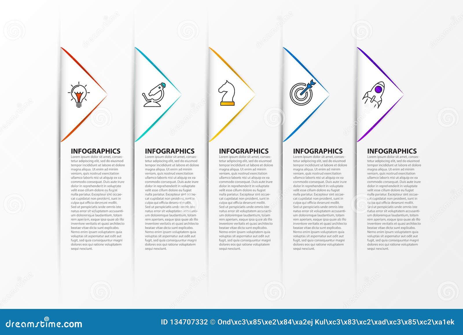 Het malplaatje van het Infographicontwerp Creatief concept met 5 stappen