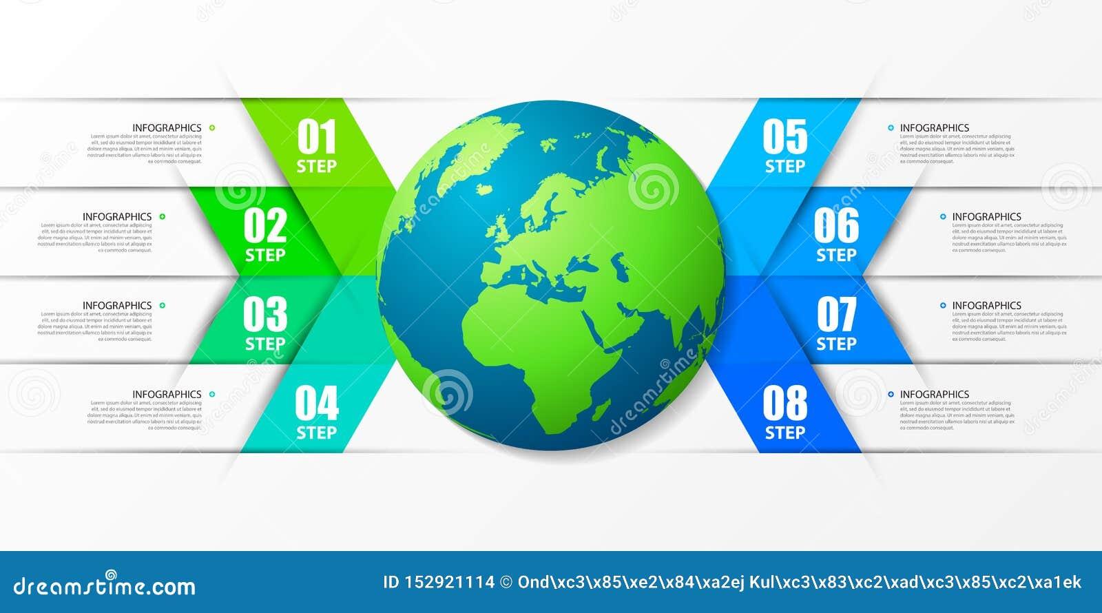 Het malplaatje van het Infographicontwerp Creatief concept met 8 stappen