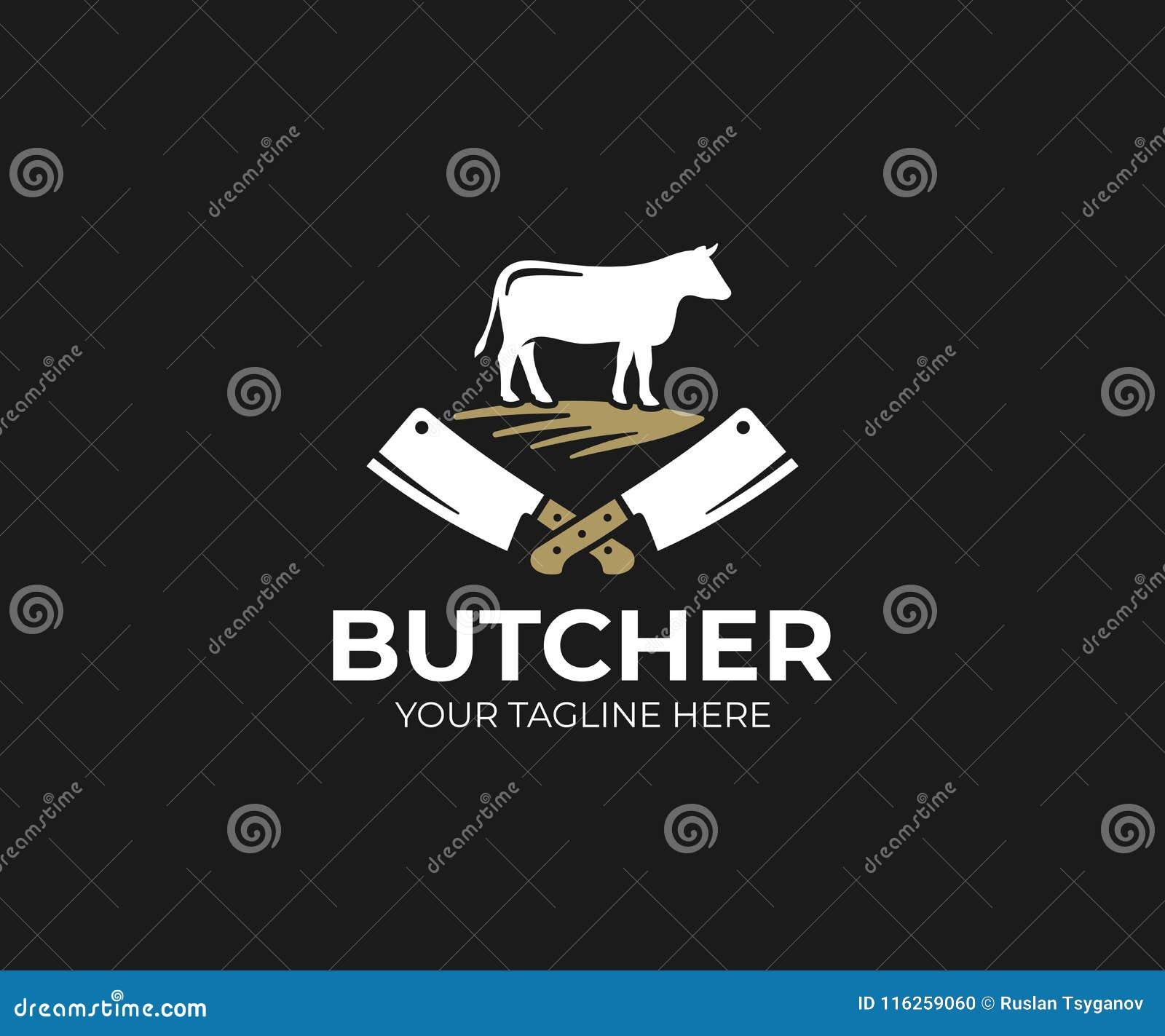 Het malplaatje van het slagerijembleem Koe en vlees het vectorontwerp van het mesmes