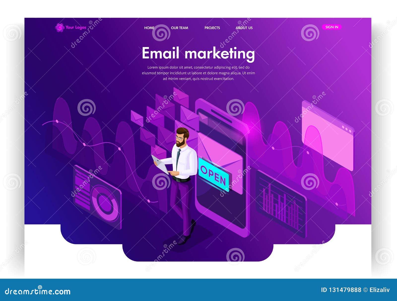 Het malplaatjeontwerp van de website Isometrische conceptene-mail Inbox Elektronische Communicatie E-mailmarketing, marketing ond