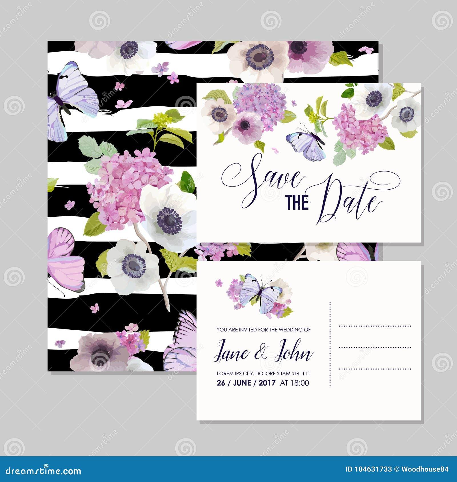 Download Het Malplaatjereeks Van De Huwelijksuitnodiging Botanische Kaart Met Hydrangea Hortensiabloemen En Vlinders Begroetende Bloemenpr Vector Illustratie - Illustratie bestaande uit bruids, ontwerp: 104631733