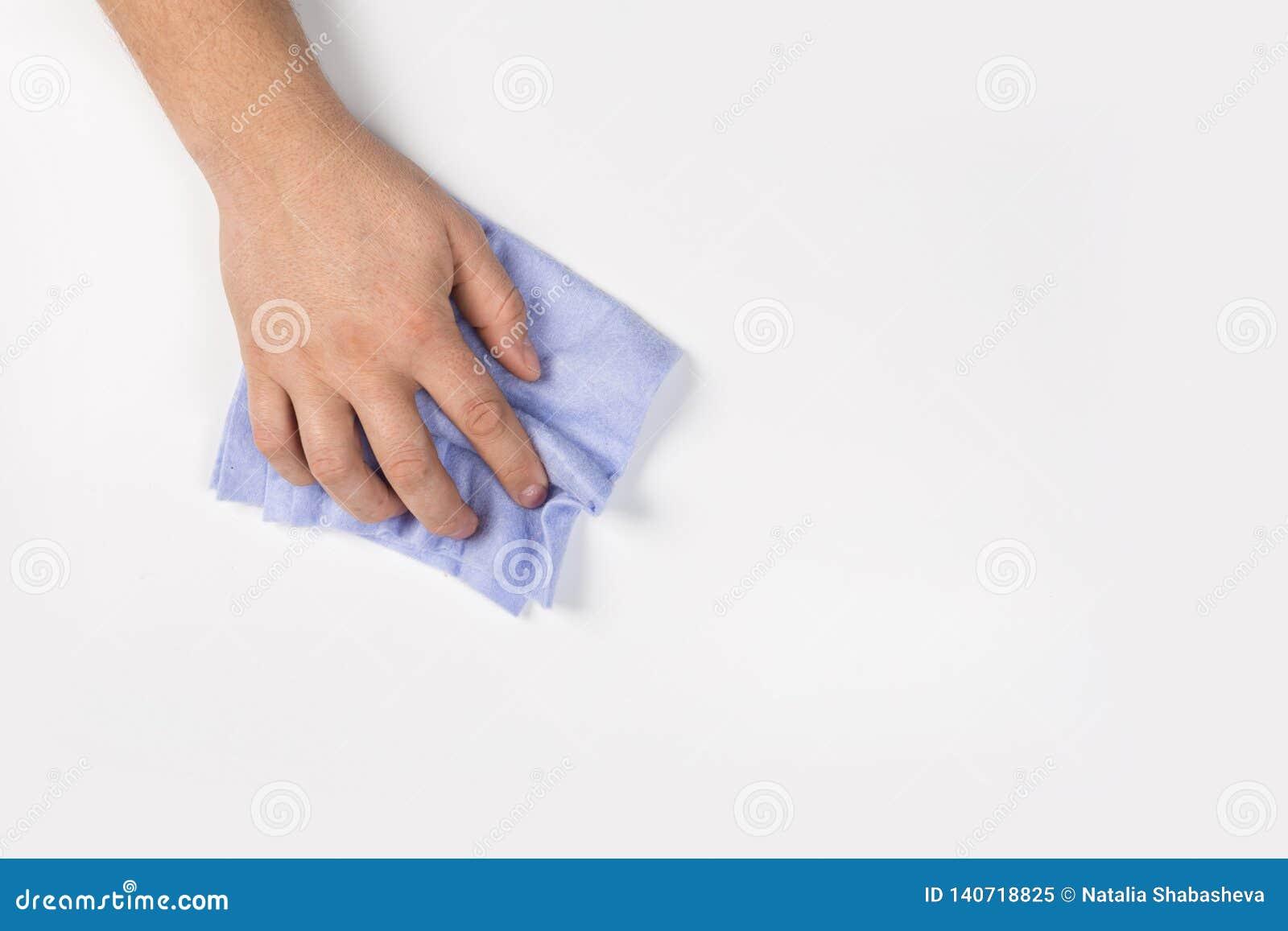 Het man hand schoonmaken op een witte achtergrond