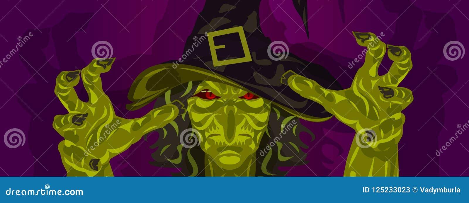 Het masker en de handen van Halloween van het heksenkostuum