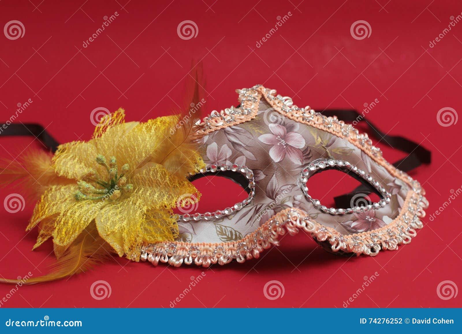 Het masker voor Purim-vakantie van vierings de Joodse Carnaval en schittert achtergrond