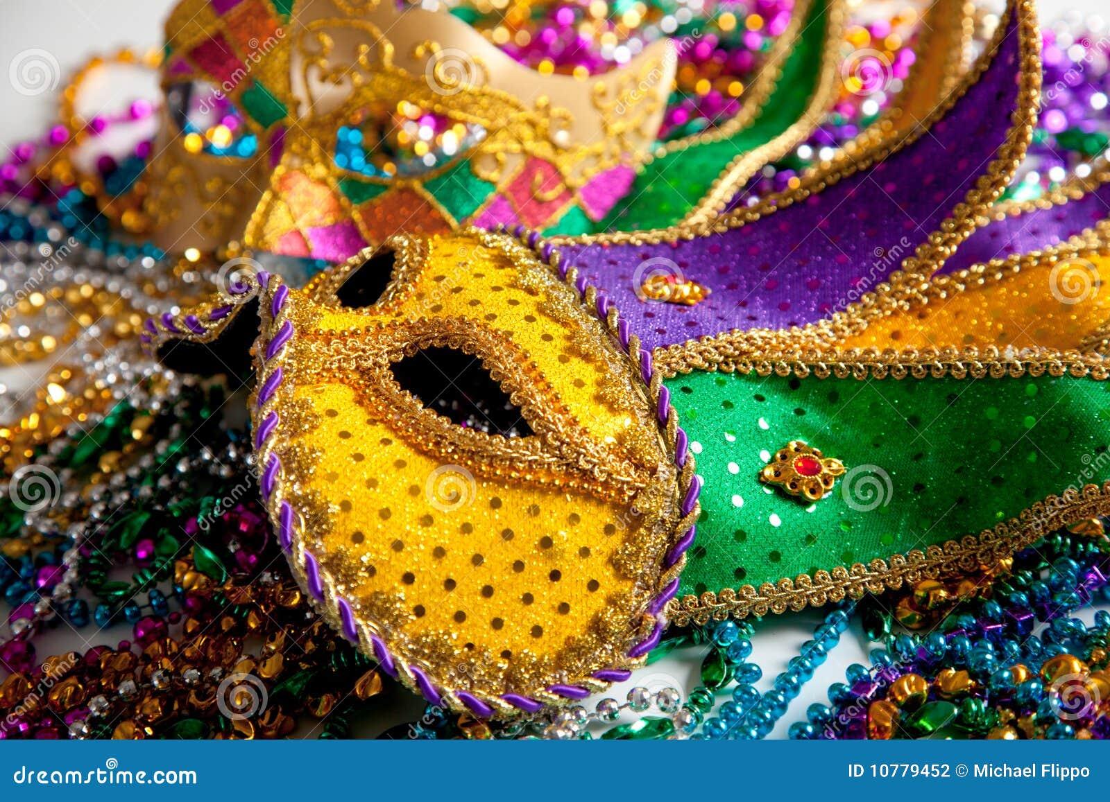 Het maskerachtergrond van Gras van Mardi