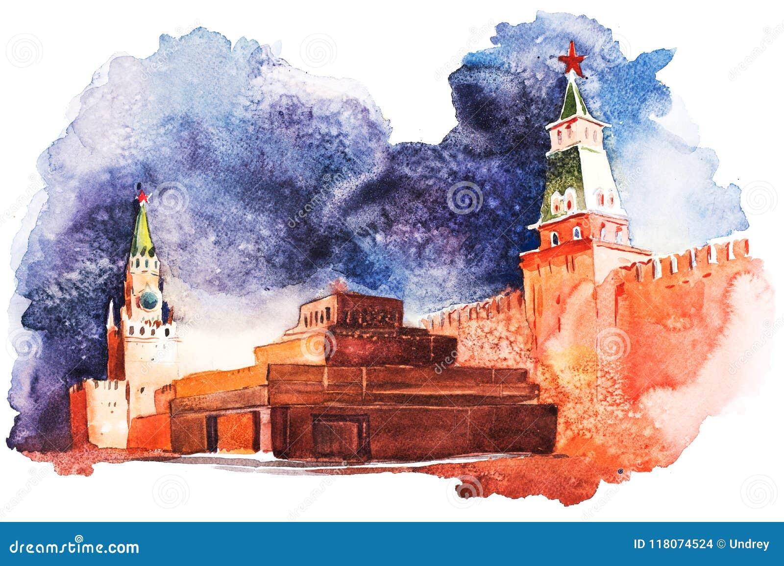 Het Mausoleum van Lenin in Moskou op de Rode Vierkante Waterverf van Rusland