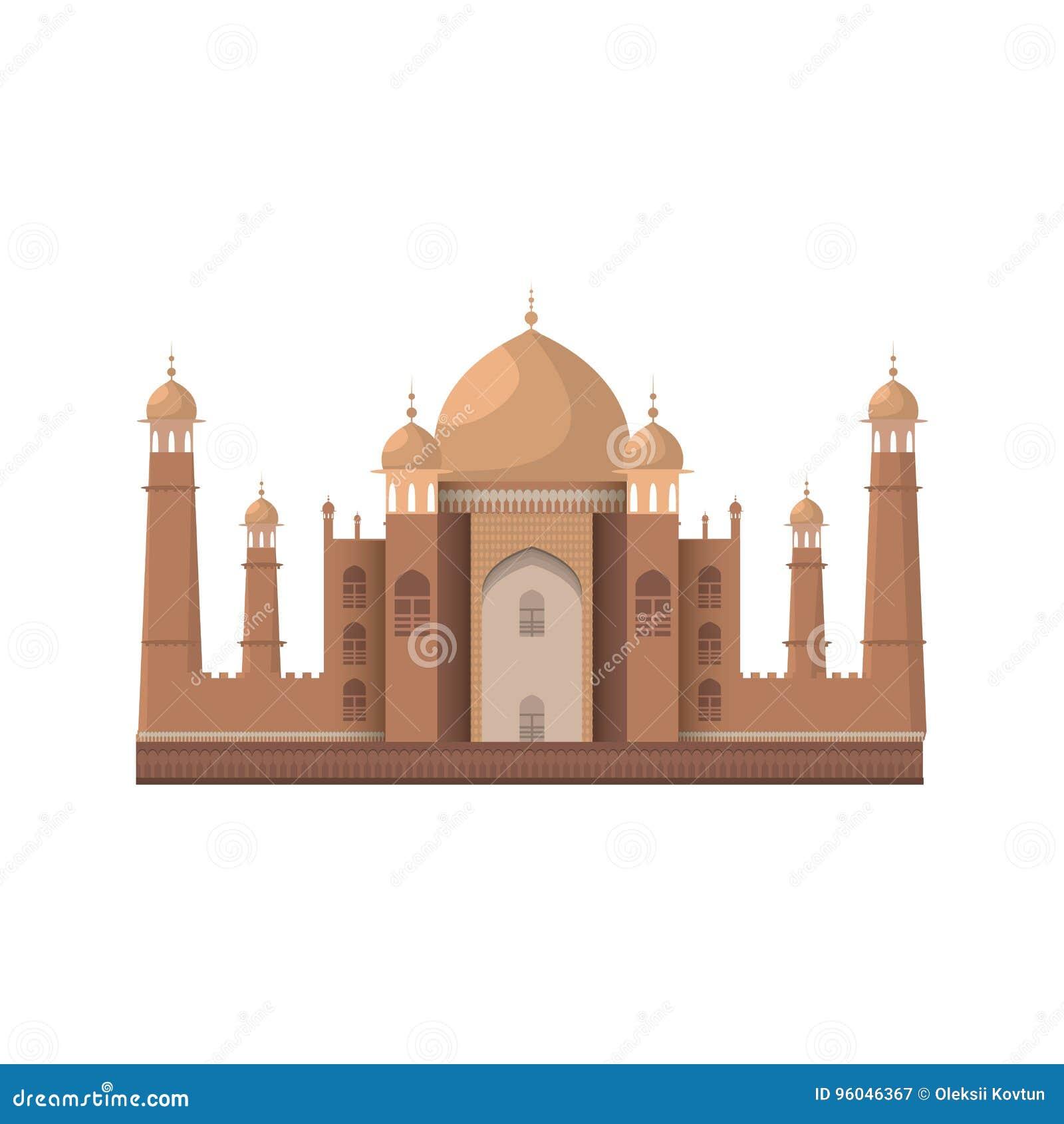 Het mausoleum van Mahal van Taj in Agra, India Geïsoleerd op wit Vector