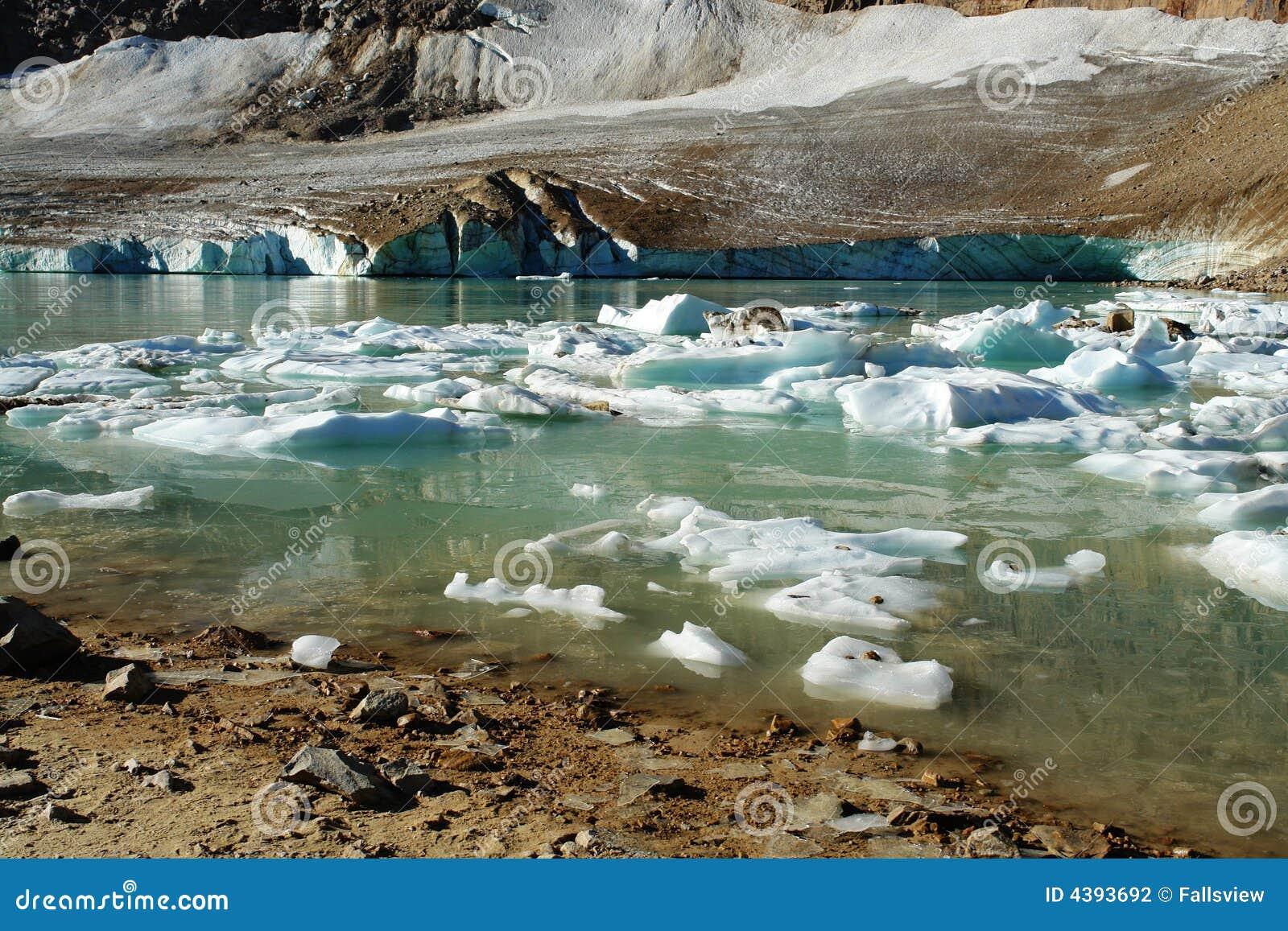 Het meer van de gletsjer in augustus