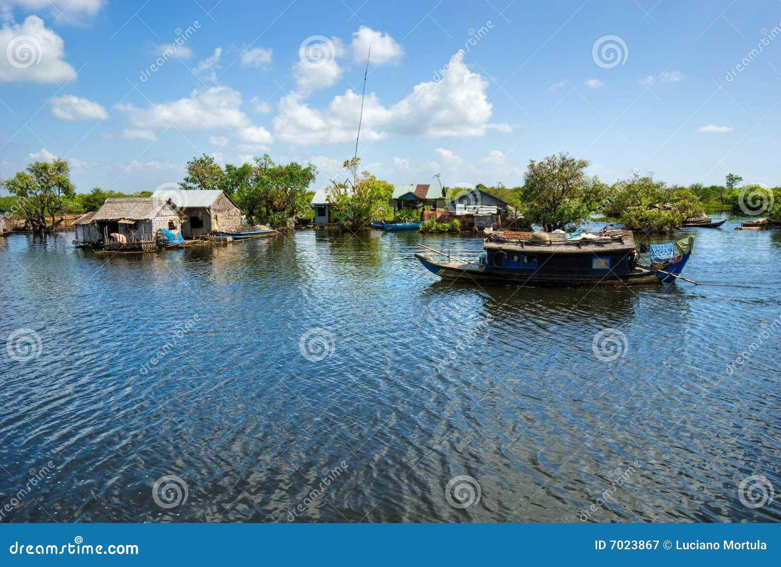 Het meer van het Sap van Tonle, Kambodja.
