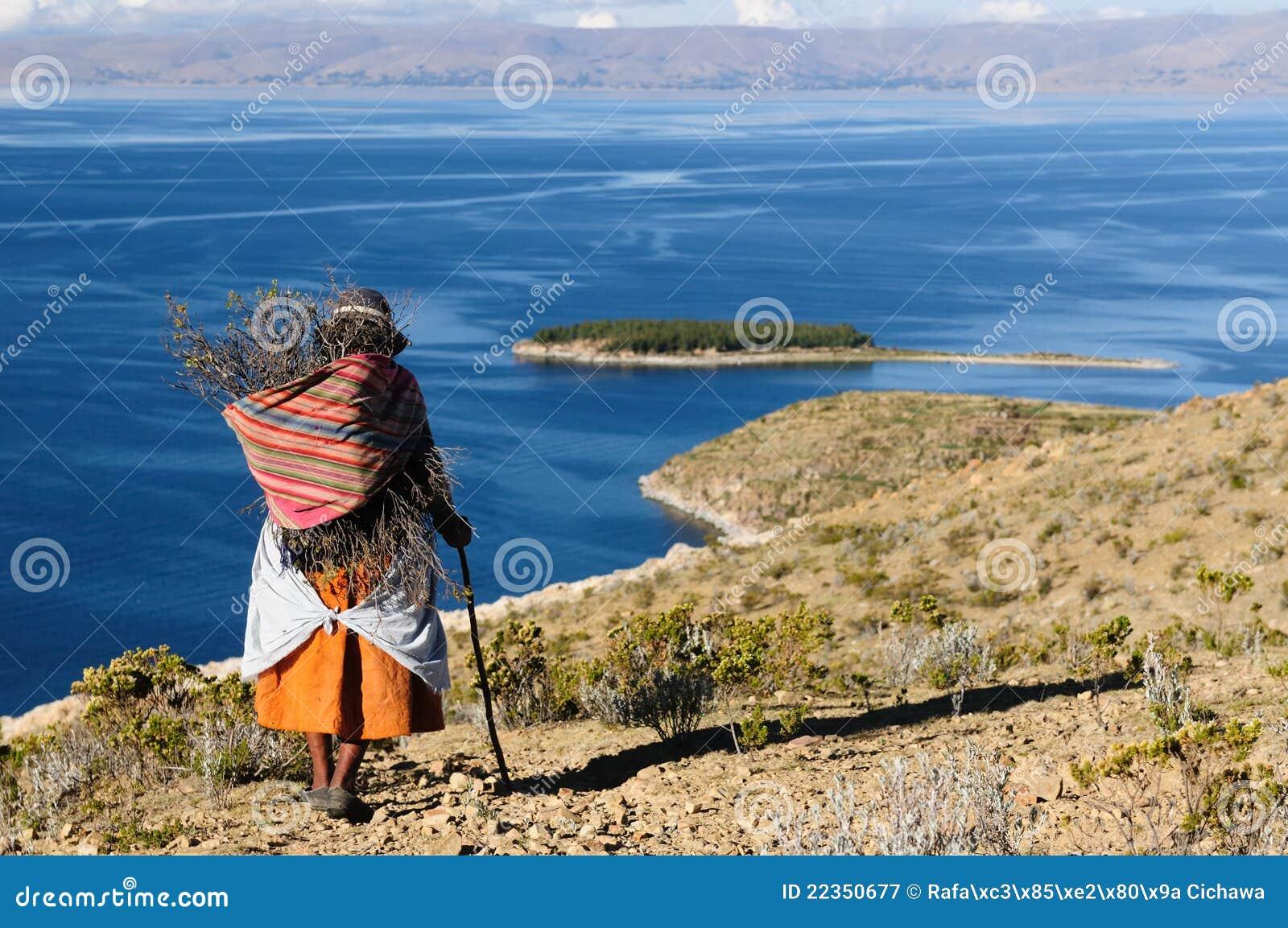 Het meer van Titicaca, Bolivië, Isla del Sol landschap