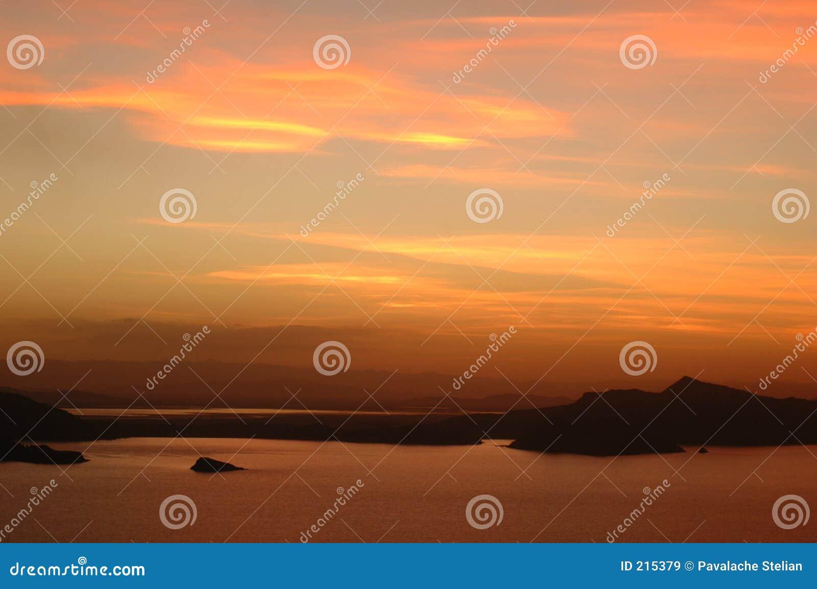 Het meer van Titicaca op zonsondergang #3