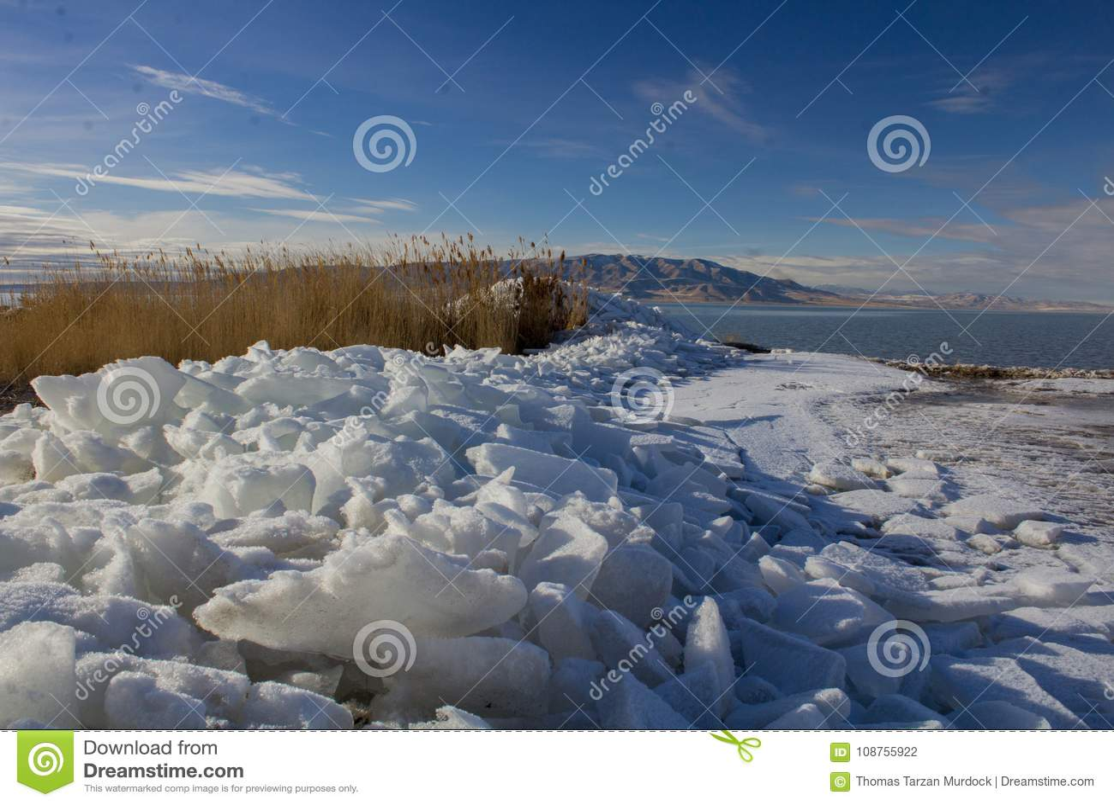 Het Meerijskappen van Utah in de winter