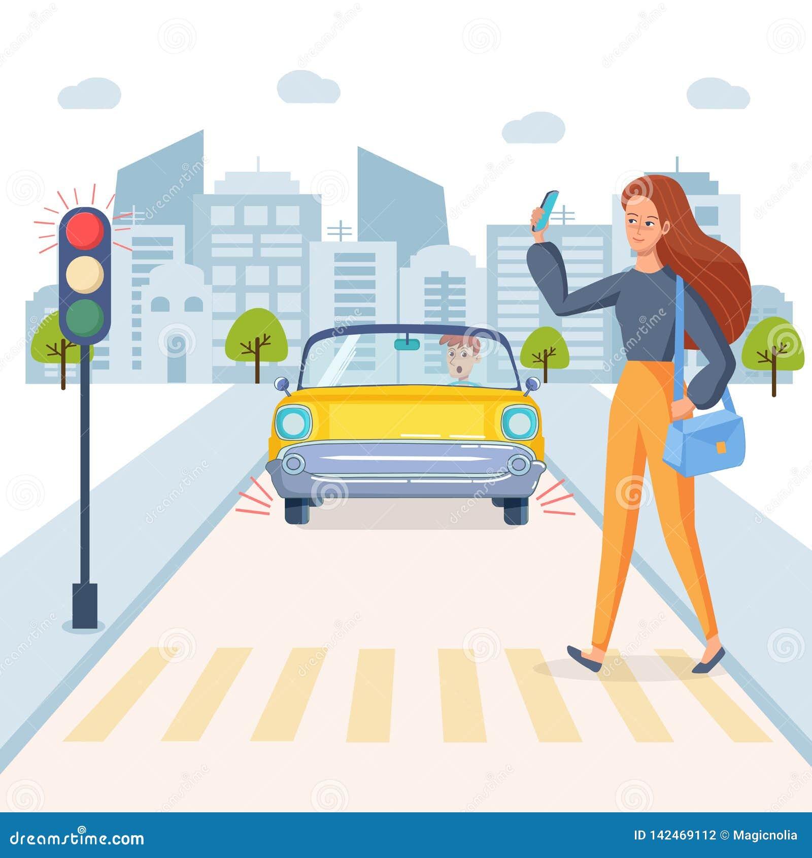 Het meisje die de telefoon spreken en kruist de weg Er is rood licht op verkeerslichten Doen schrikken bestuurder in de auto op d
