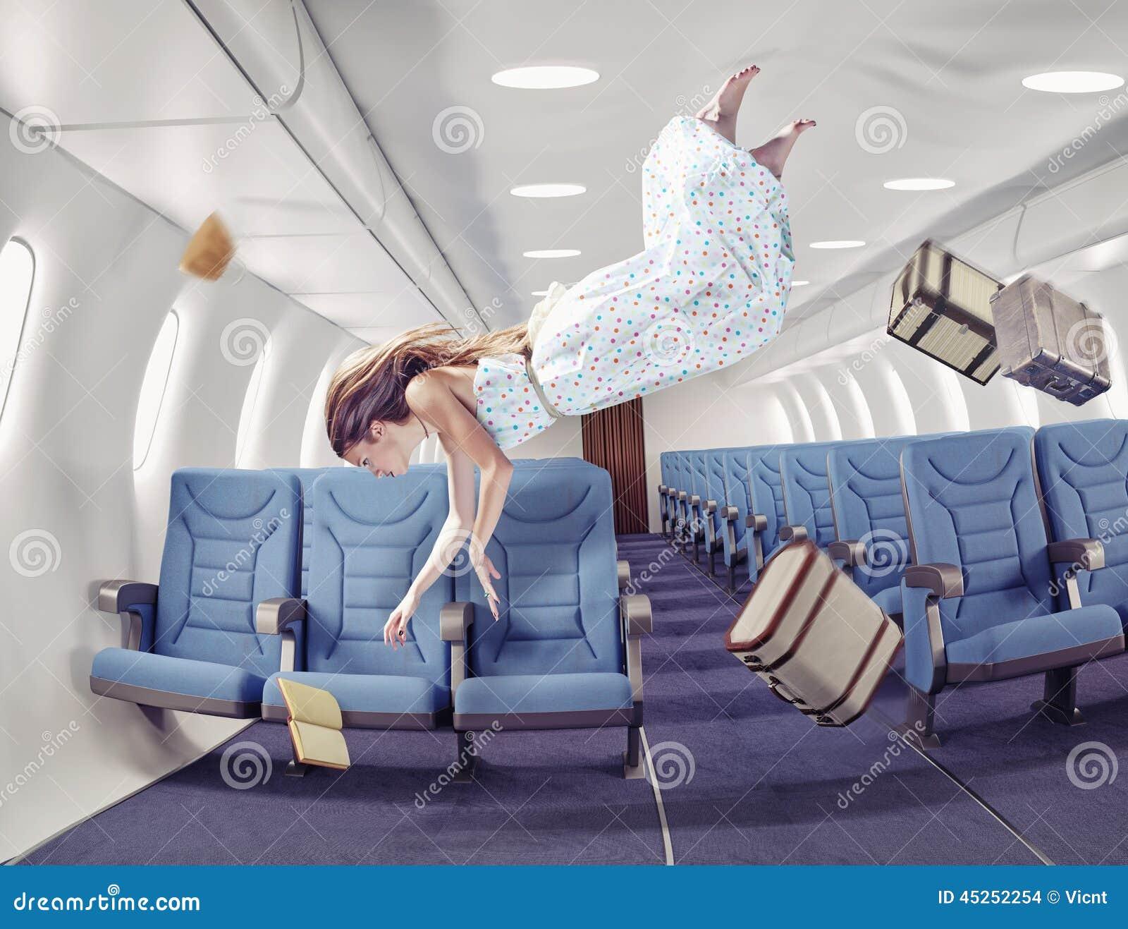 Het meisje in een vliegtuig