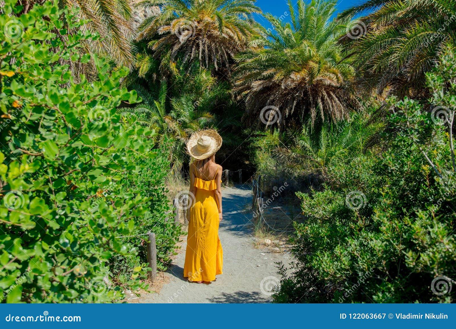 Het meisje heeft rust in palmbos