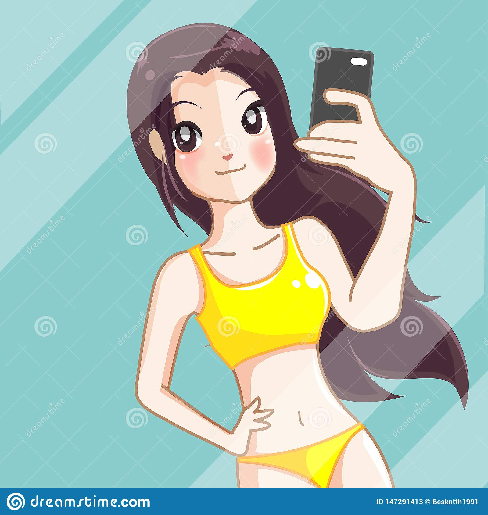Het meisje neemt een foto selfie