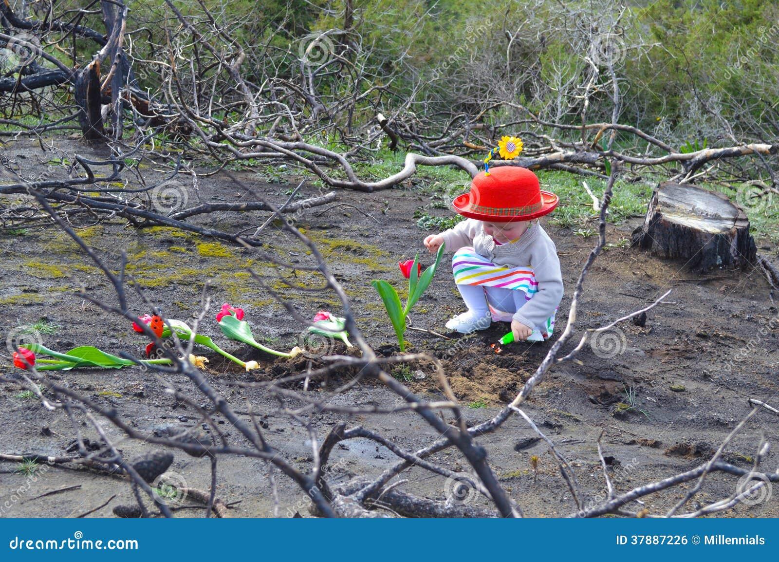 Het meisje plant tulpen over gebrande grond