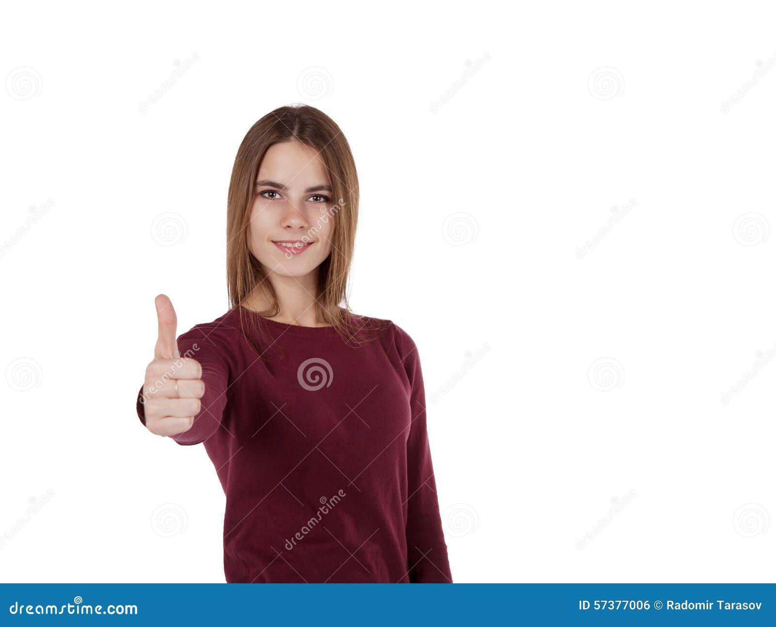 Het meisje in rode sweater toont tekengoed