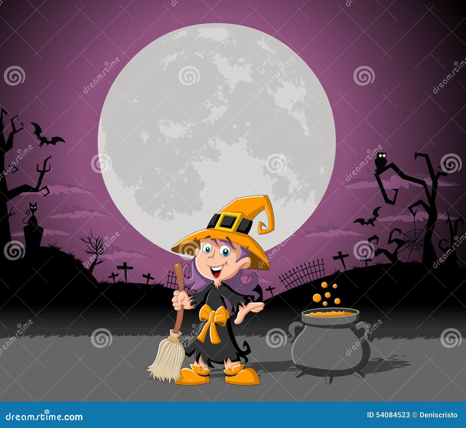 Het meisje van de beeldverhaalheks op Halloween-begraafplaats
