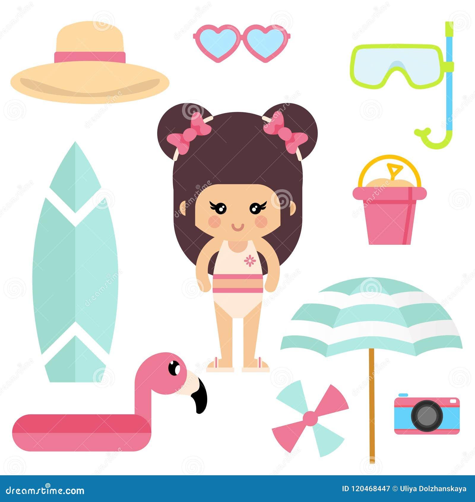 Het meisje van de beeldverhaalzomer in een zwempak met de vector van de zomerelementen